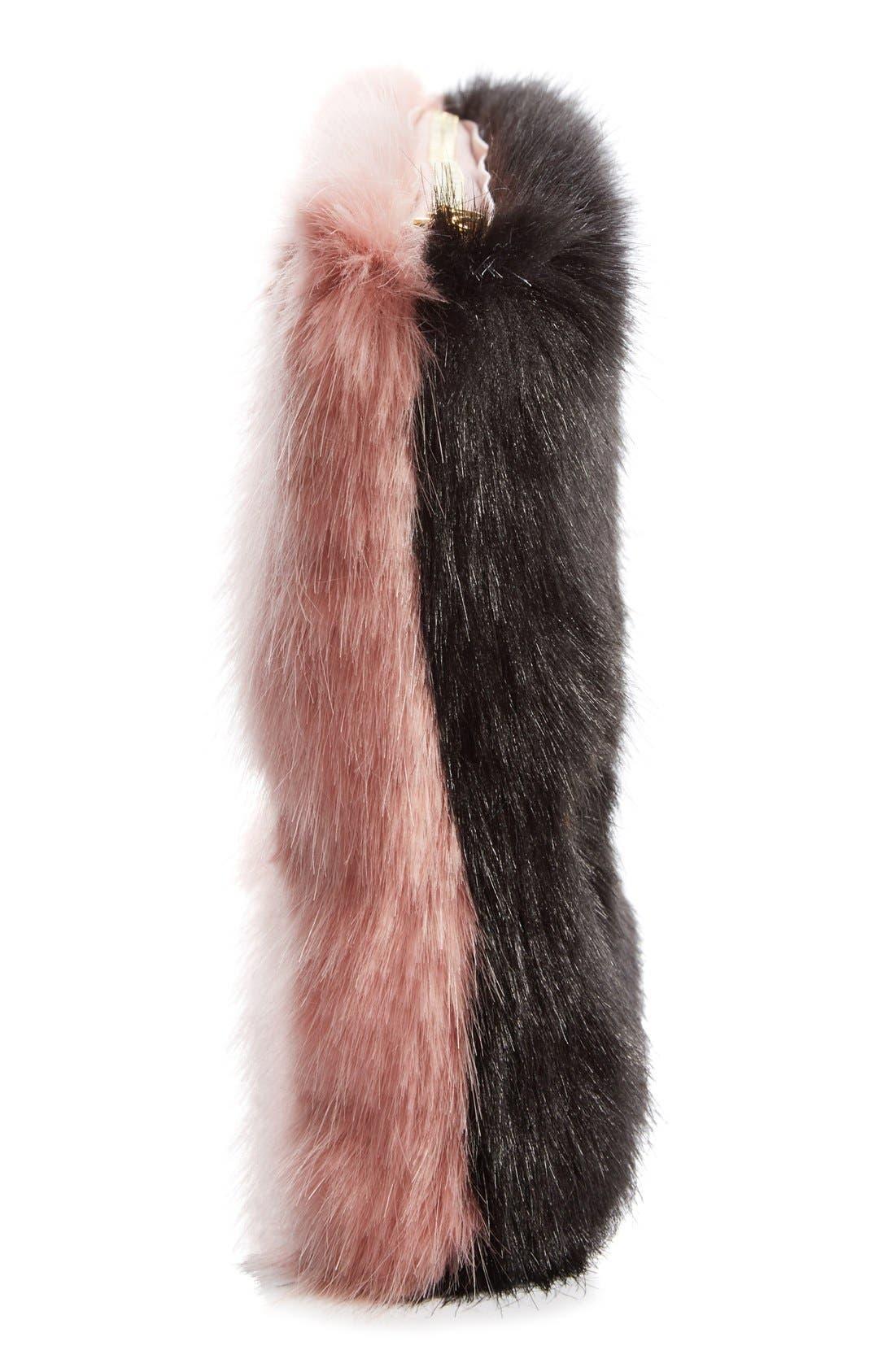 'Damsel' Faux Fur Clutch,                             Alternate thumbnail 4, color,                             001