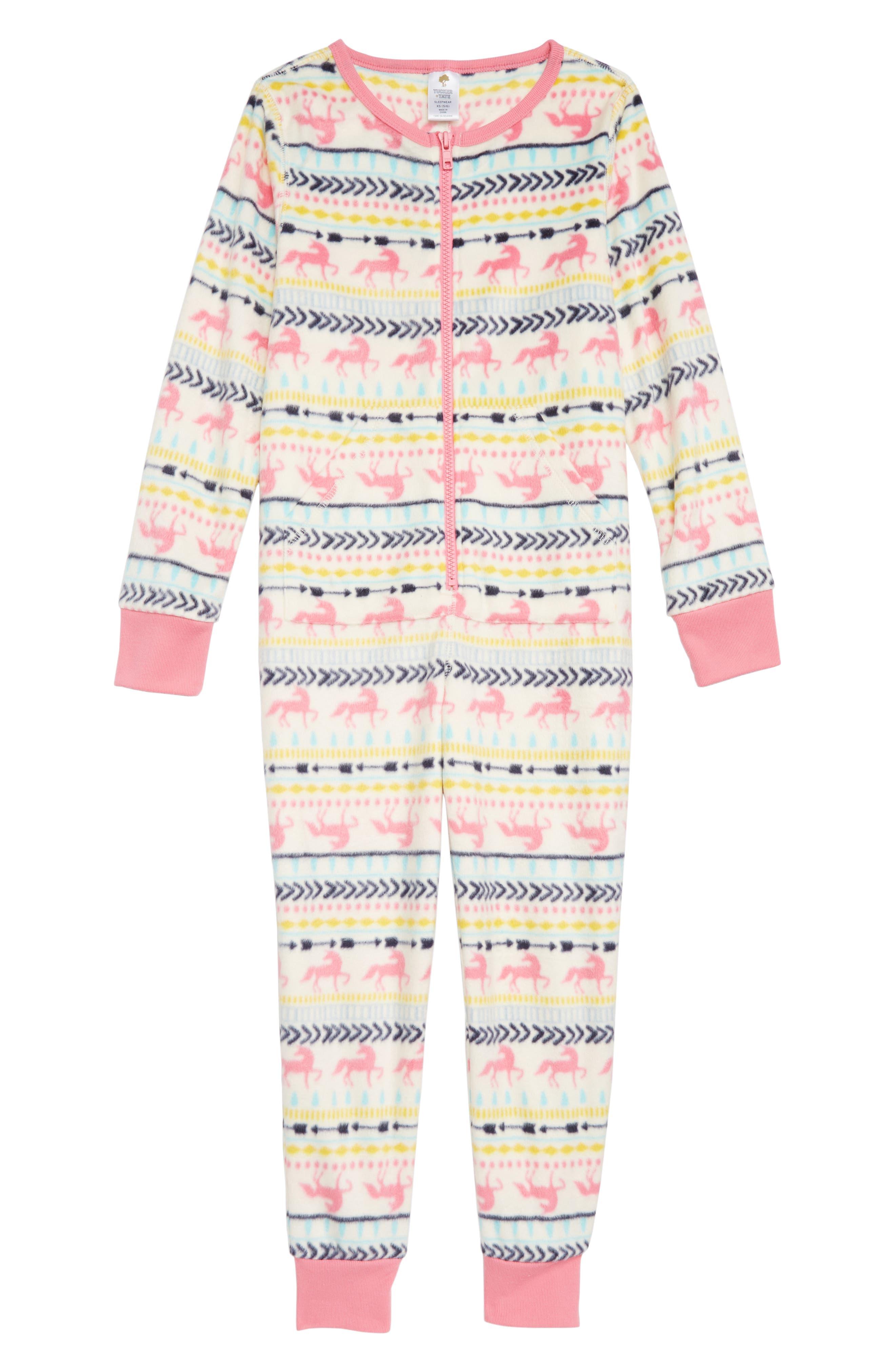 Cozy Print Fitted One-Piece Pajamas,                             Main thumbnail 1, color,                             IVORY EGRET UNICORN FAIRISLE