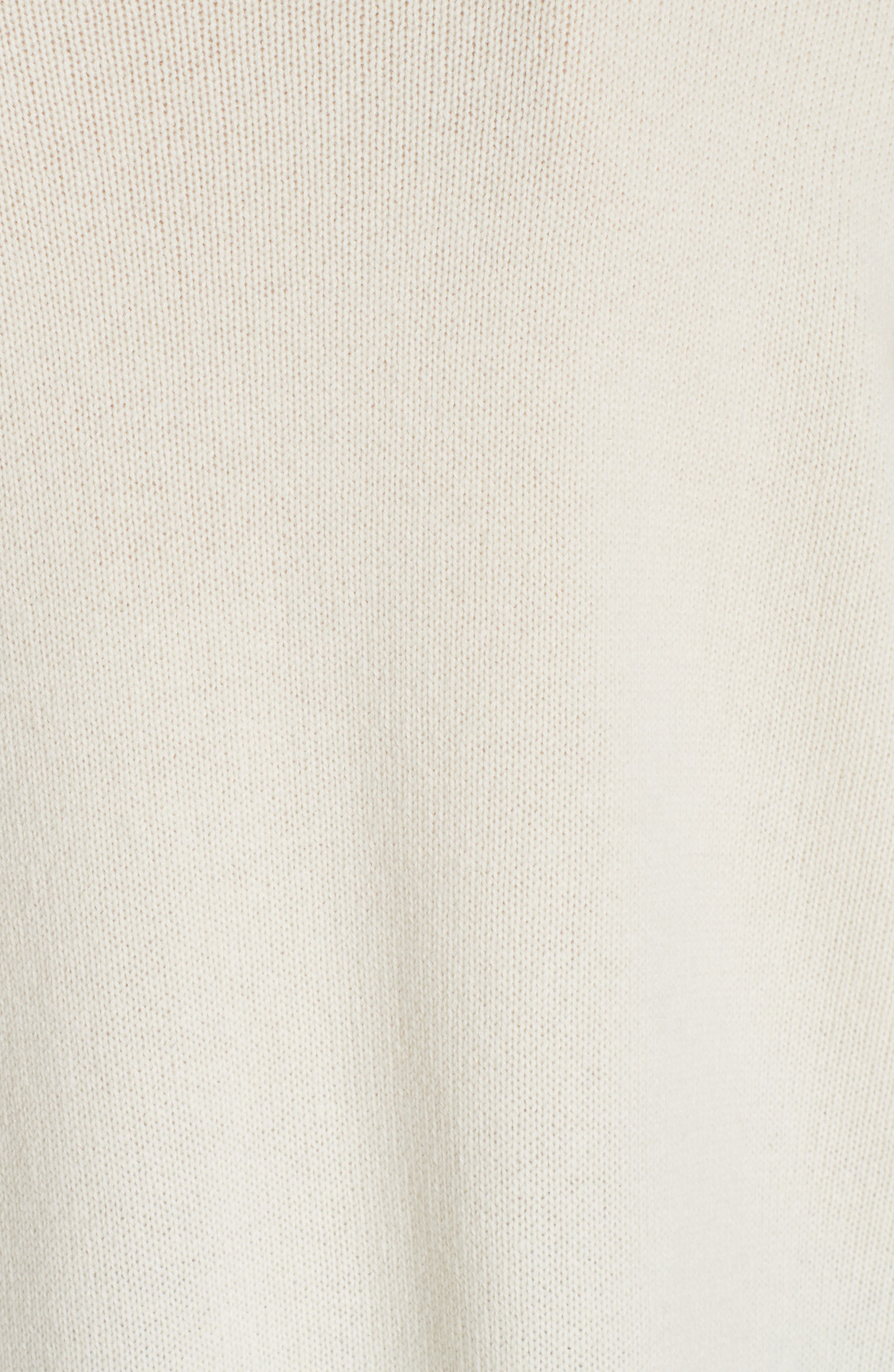Oversize Cashmere & Wool Sweater,                             Alternate thumbnail 5, color,                             SOFT WHITE/ DARK PEARL
