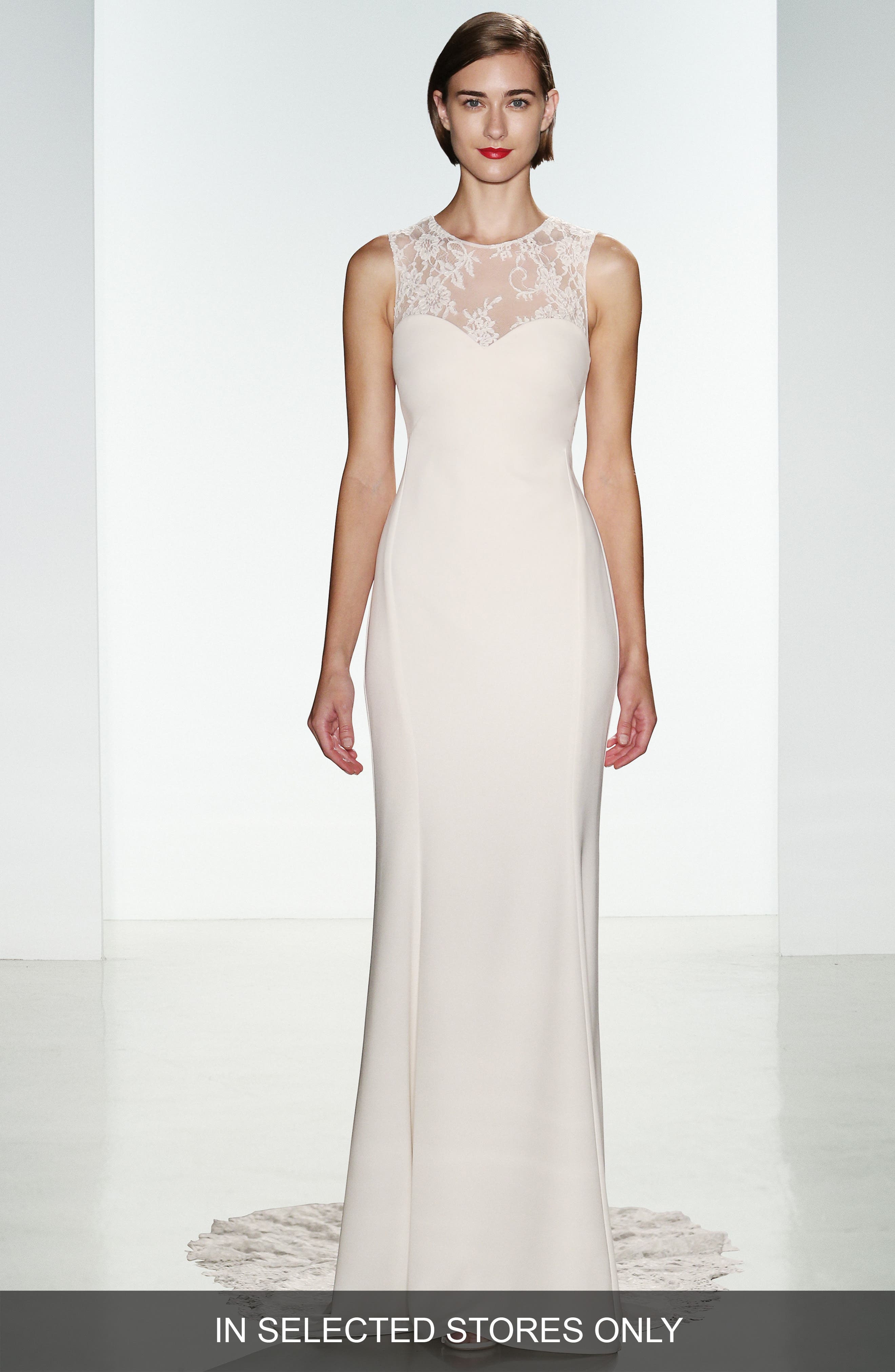 Myka Sleeveless Illusion Lace & Crepe Column Gown,                             Alternate thumbnail 3, color,                             IVORY