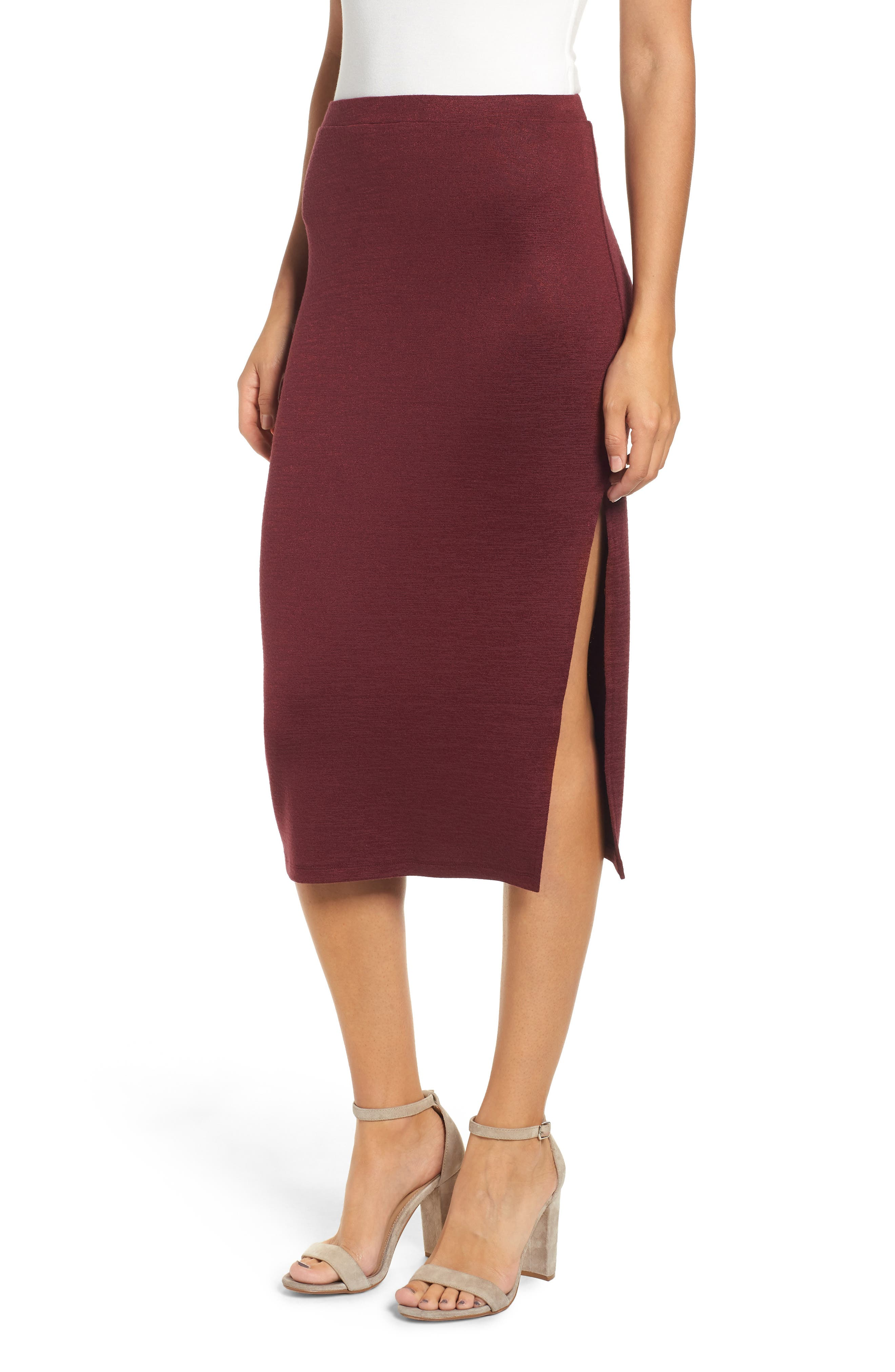 Leith High Slit Marled Midi Skirt, Red