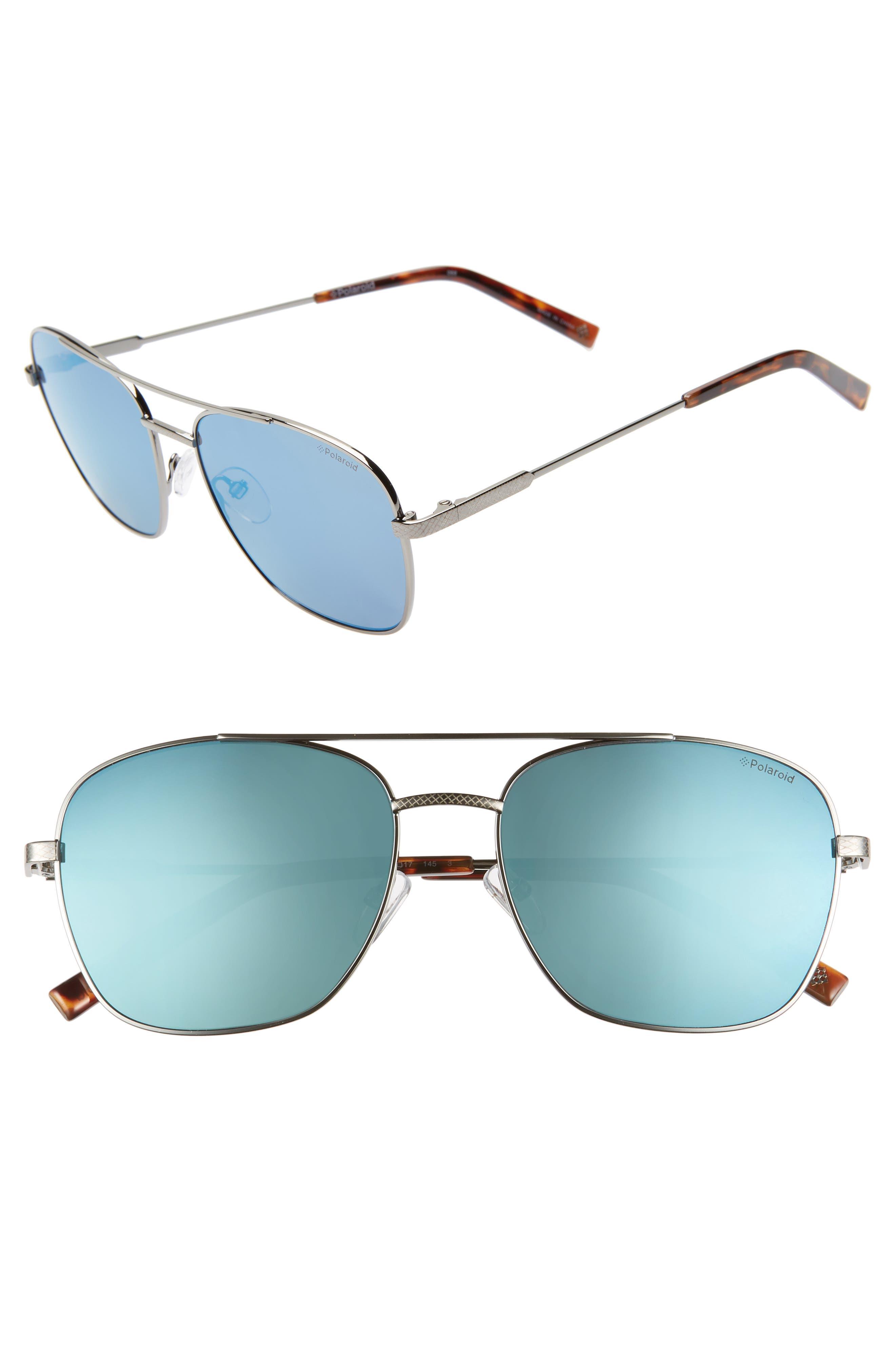 POLAROID 58mm Polarized Navigator Sunglasses, Main, color, RUTHENIUM