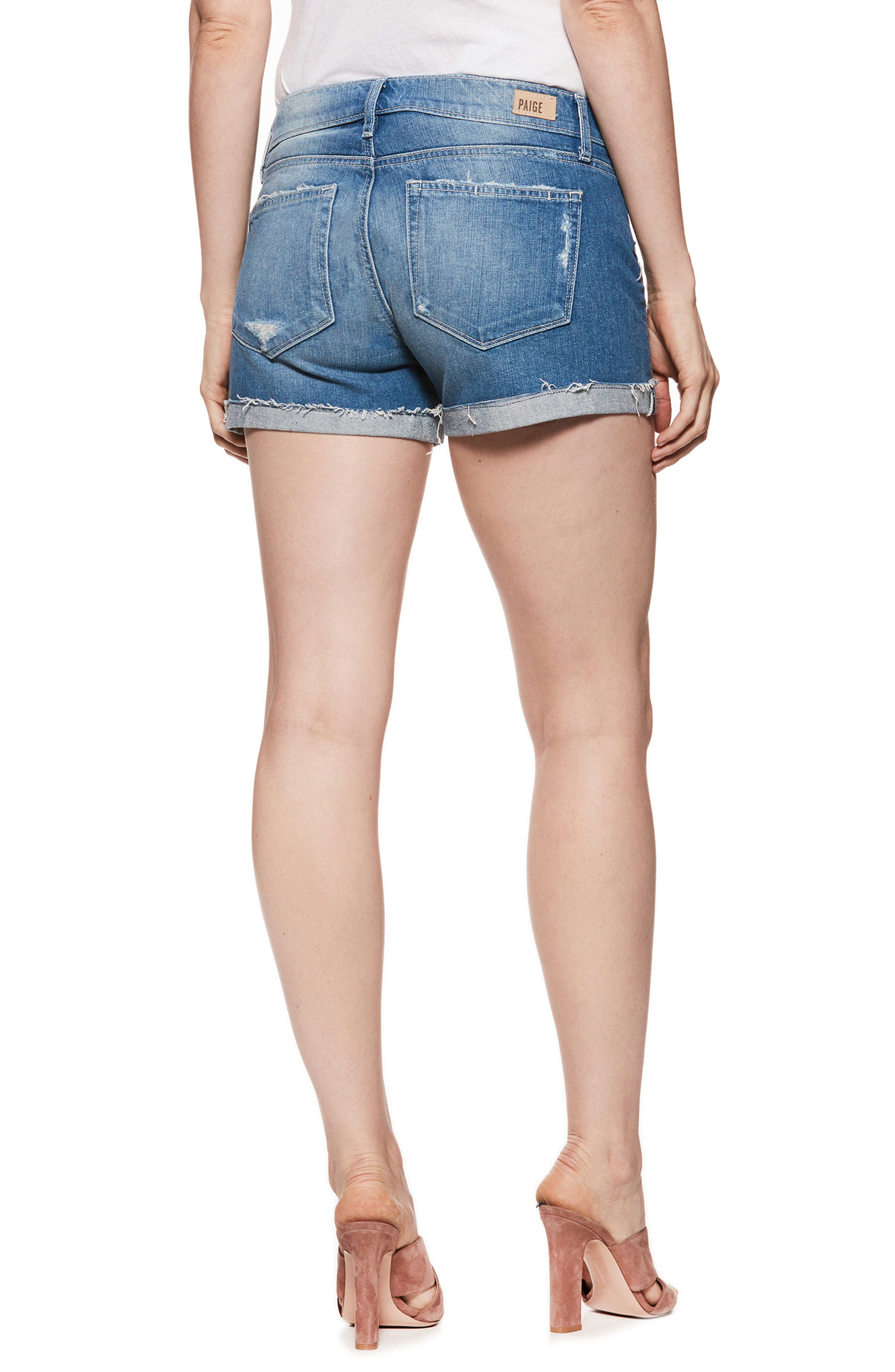 Jimmy Jimmy Raw Cuff Denim Maternity Shorts,                             Alternate thumbnail 2, color,                             FINNICK DESTRUCTED
