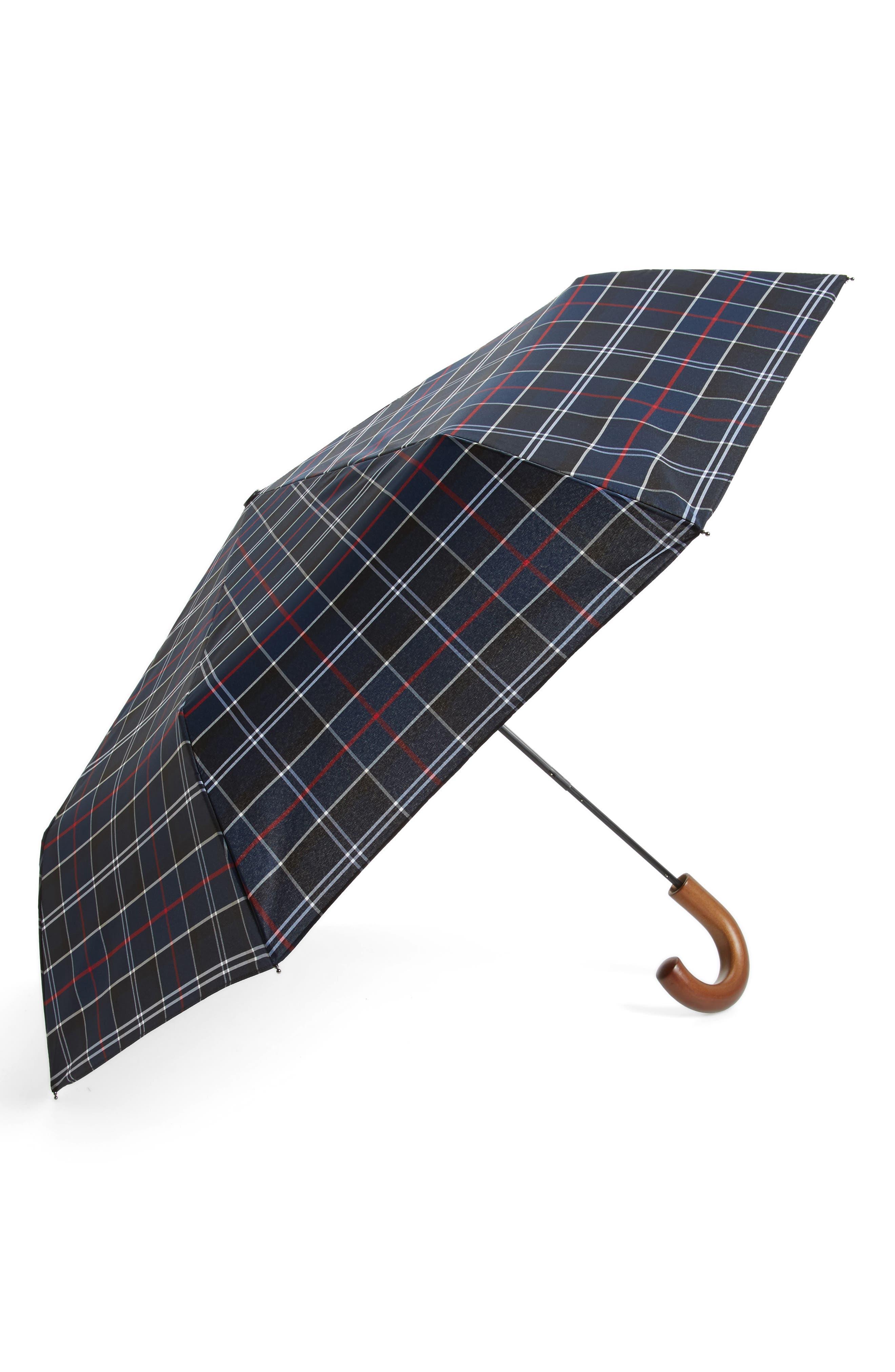 Telescoping Tartan Umbrella,                         Main,                         color, NAVY TARTAN