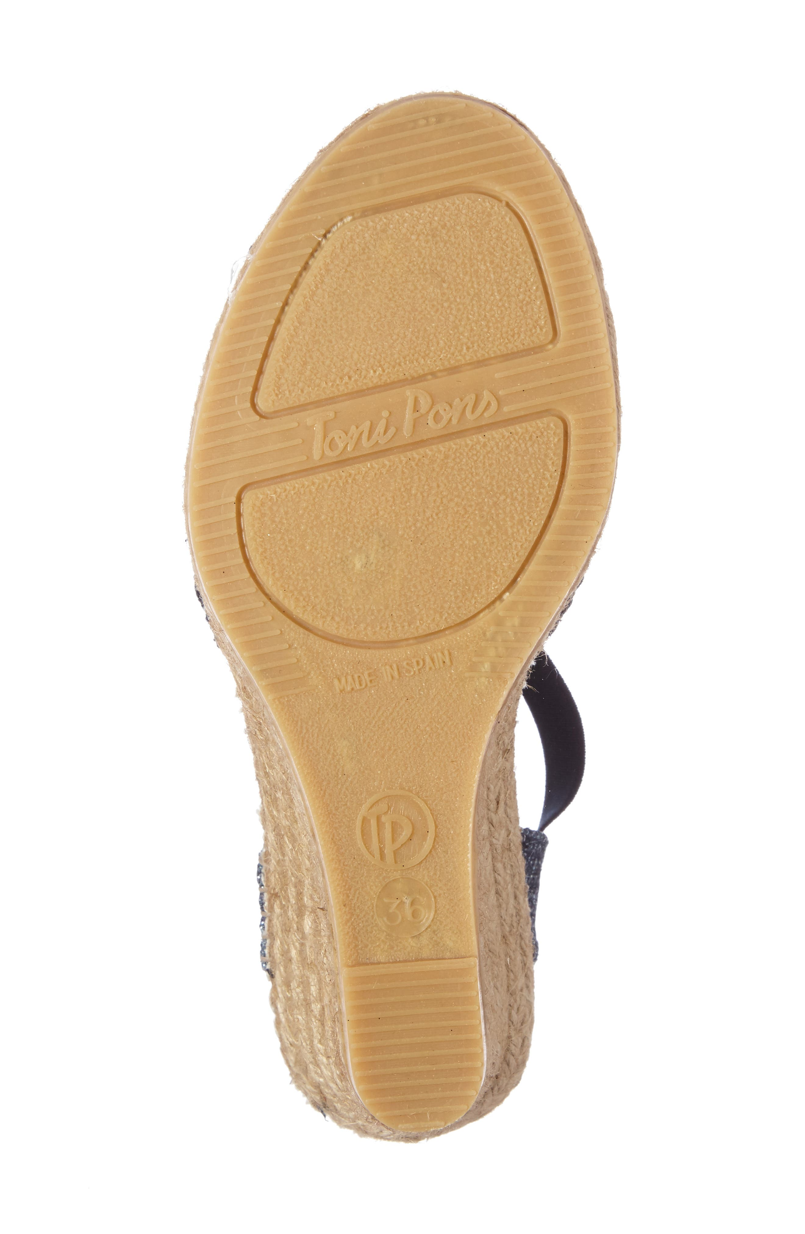 Sol Wedge Espadrille Sandal,                             Alternate thumbnail 4, color,                             NAVY FABRIC