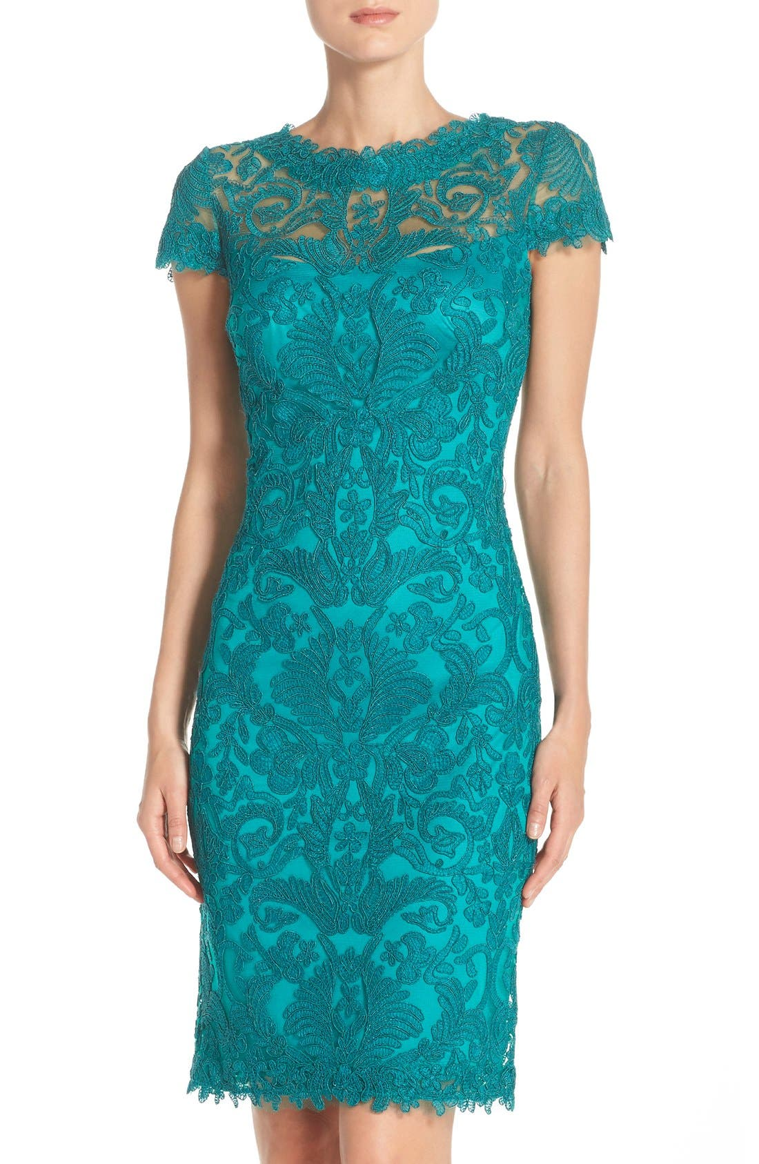 Illusion Yoke Lace Sheath Dress,                             Main thumbnail 14, color,