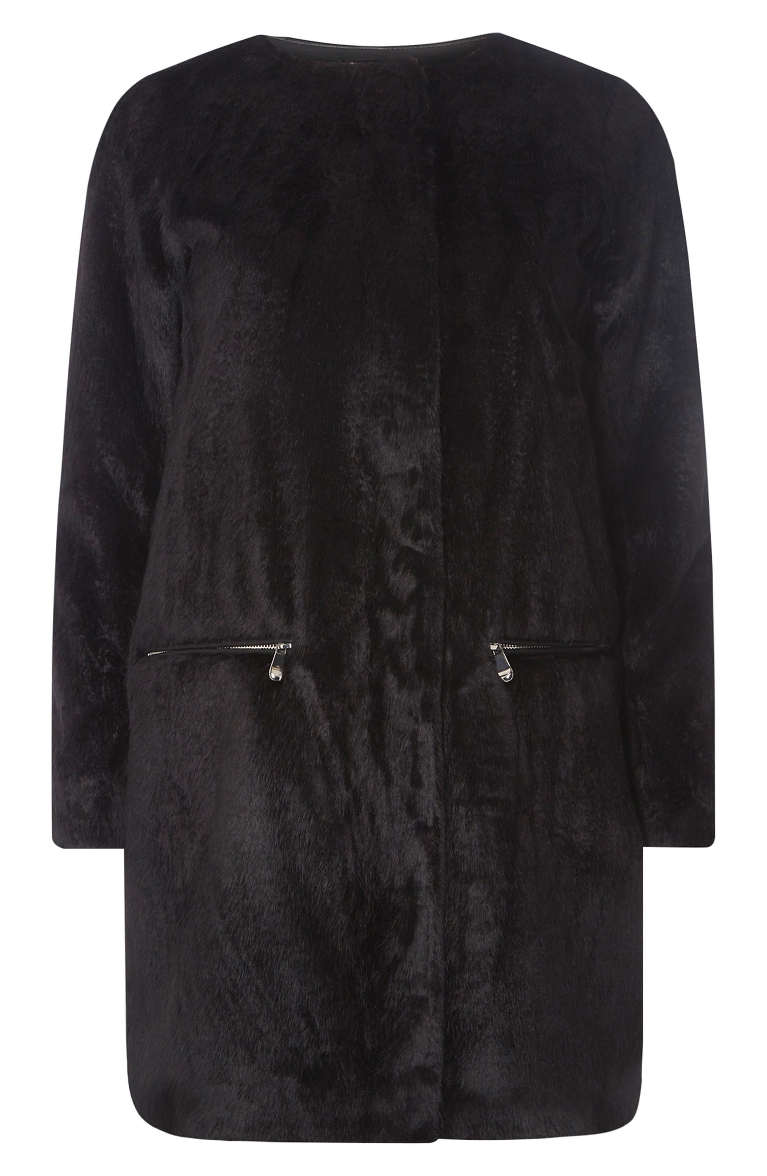 Faux Fur Coat,                             Alternate thumbnail 4, color,