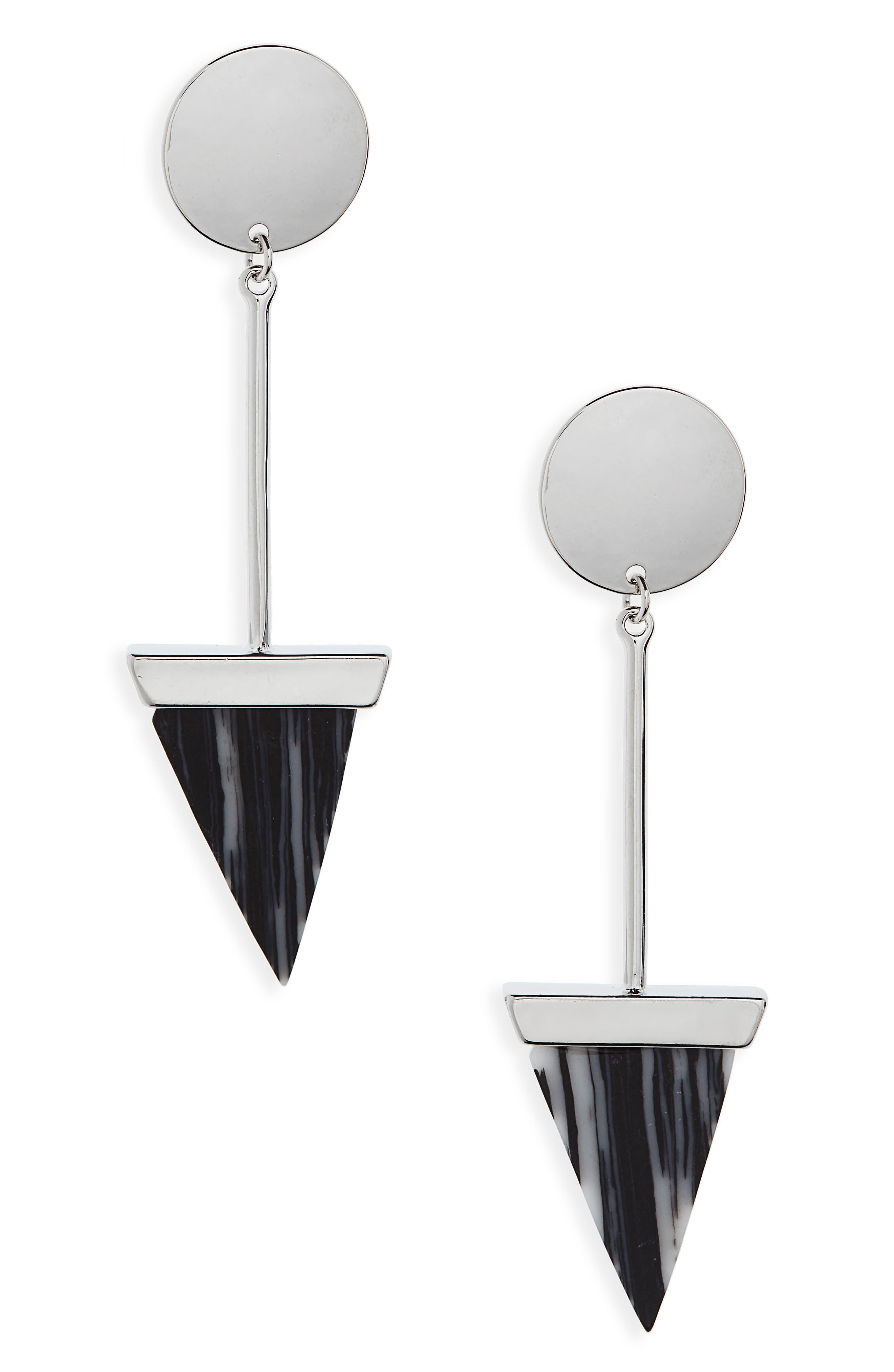 Geometric Zebra Stripe Drop Earrings,                             Main thumbnail 1, color,                             001
