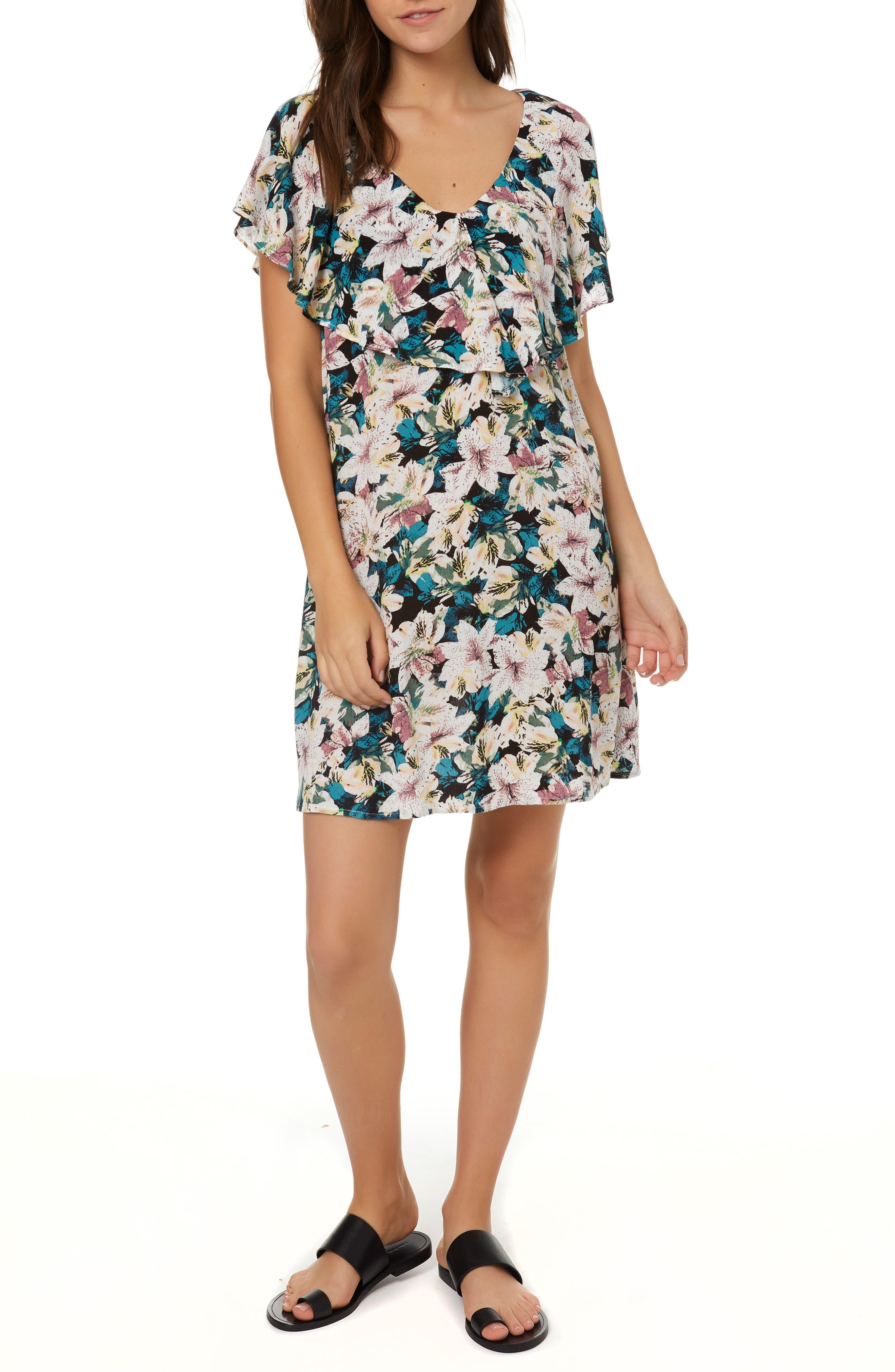 Miran Floral Print Woven Dress, Main, color, 100