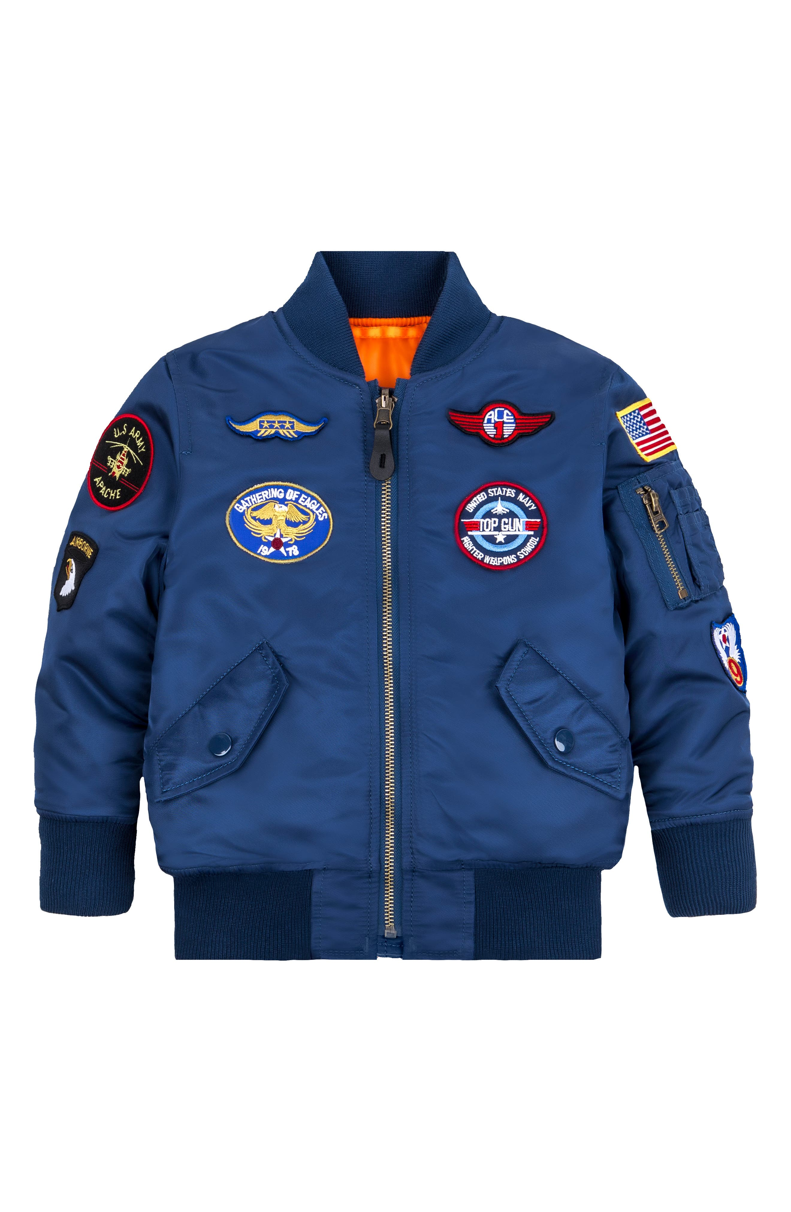 MA-1 Patch Flight Jacket,                         Main,                         color, BLUE NO 9