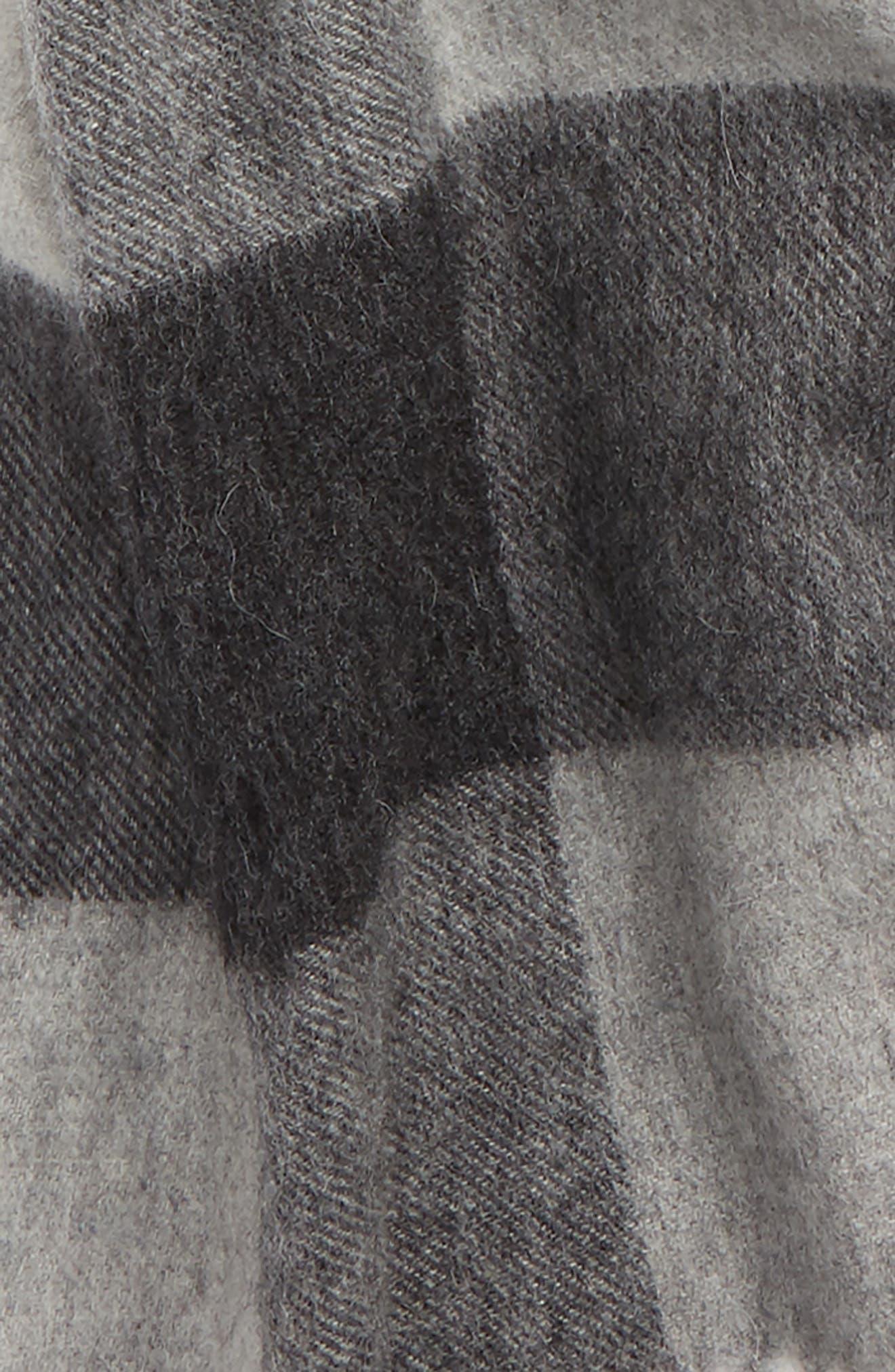 Lockton Check Merino Wool & Cashmere Scarf,                             Alternate thumbnail 3, color,                             020