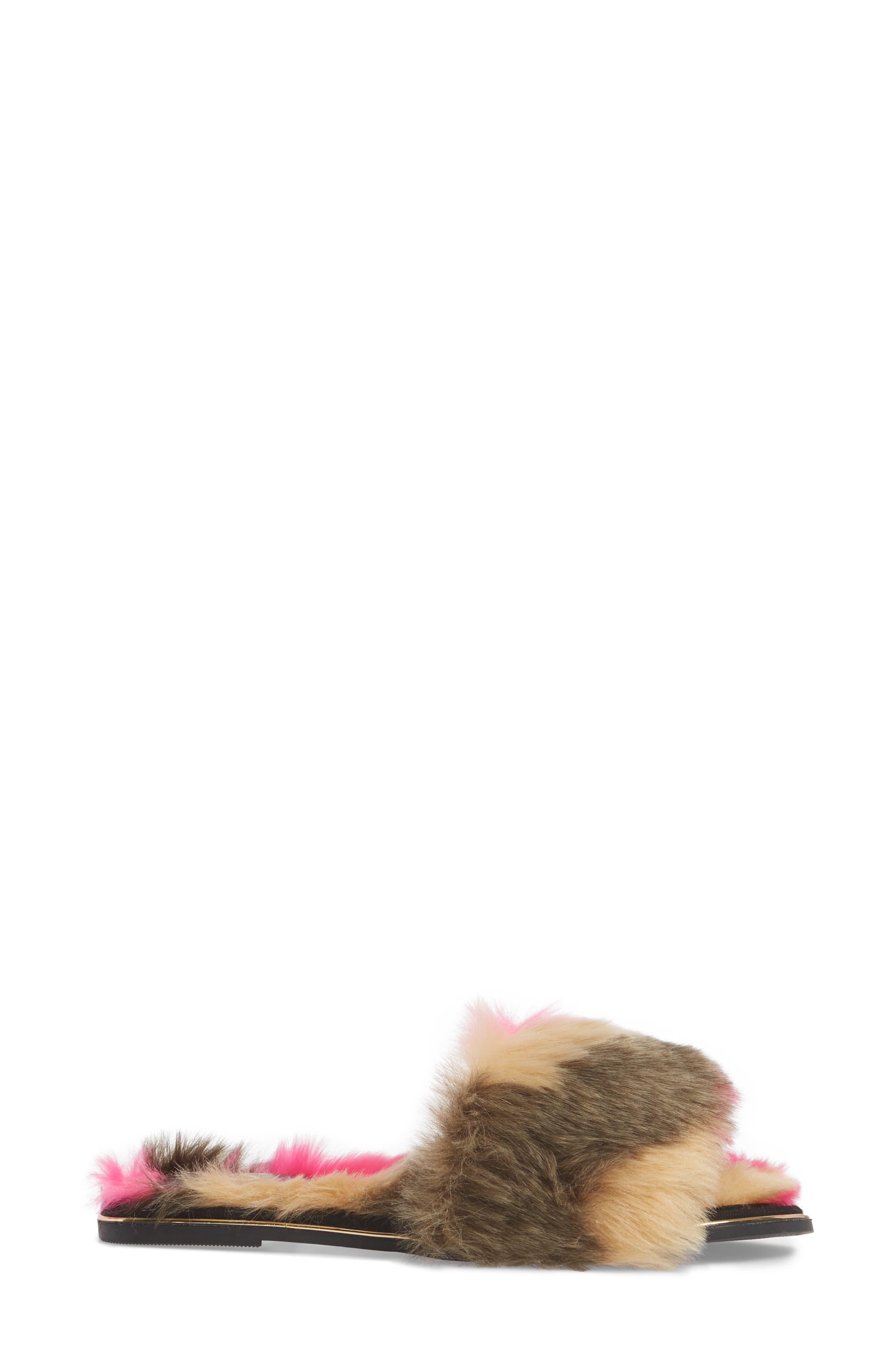 YOSI SAMRA,                             Rose Faux Fur Slide Sandal,                             Alternate thumbnail 3, color,                             030