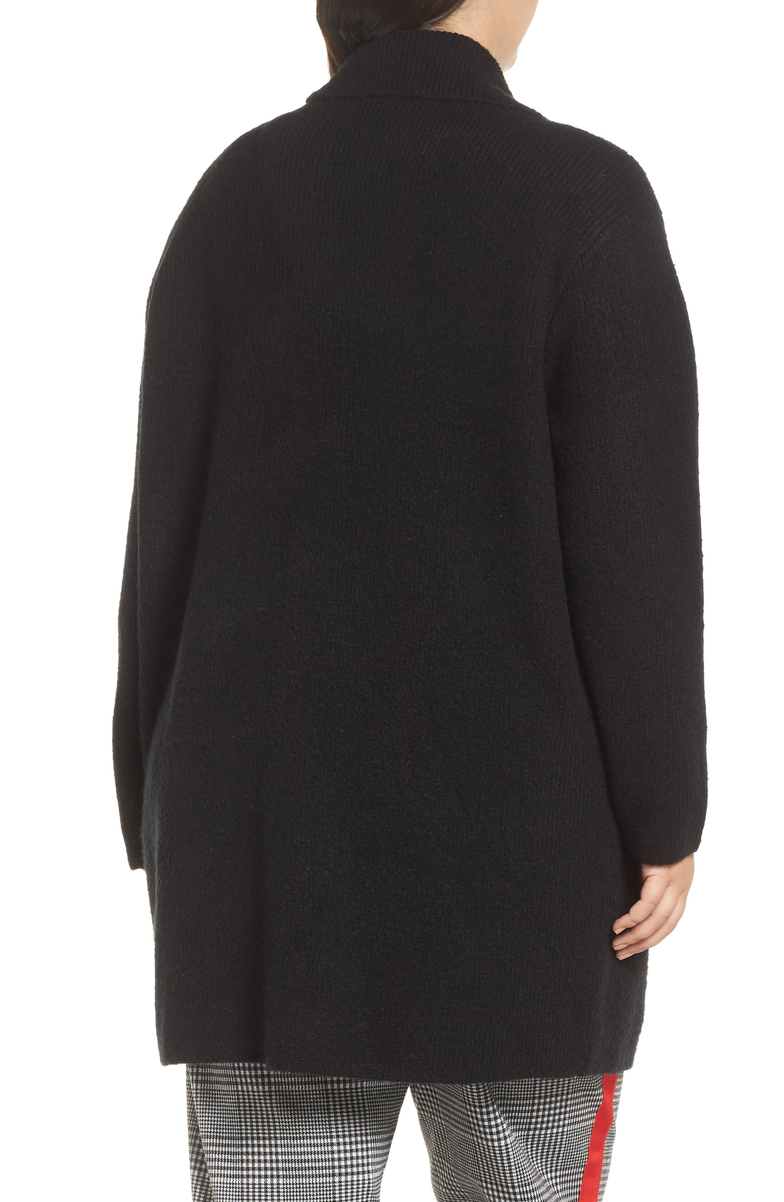 Sweater Coat,                             Alternate thumbnail 2, color,                             BLACK