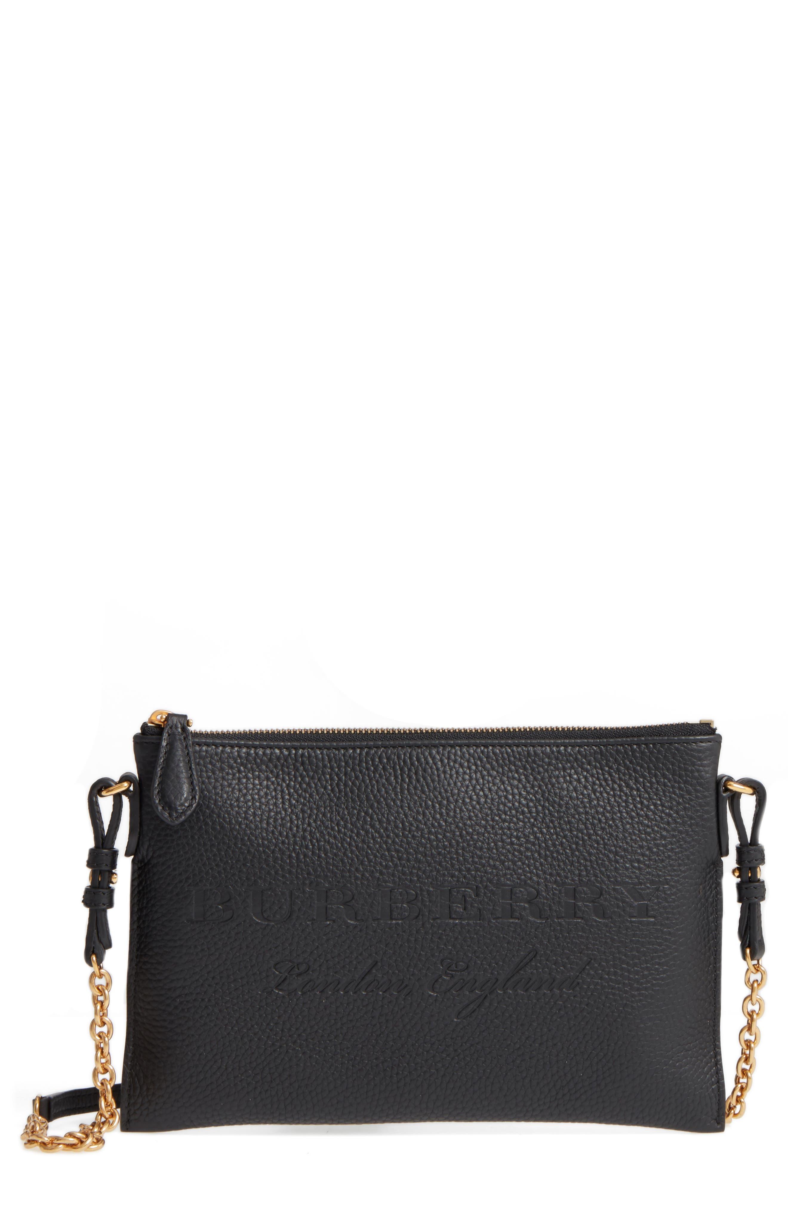 Peyton Leather Crossbody Bag,                             Main thumbnail 1, color,                             BLACK