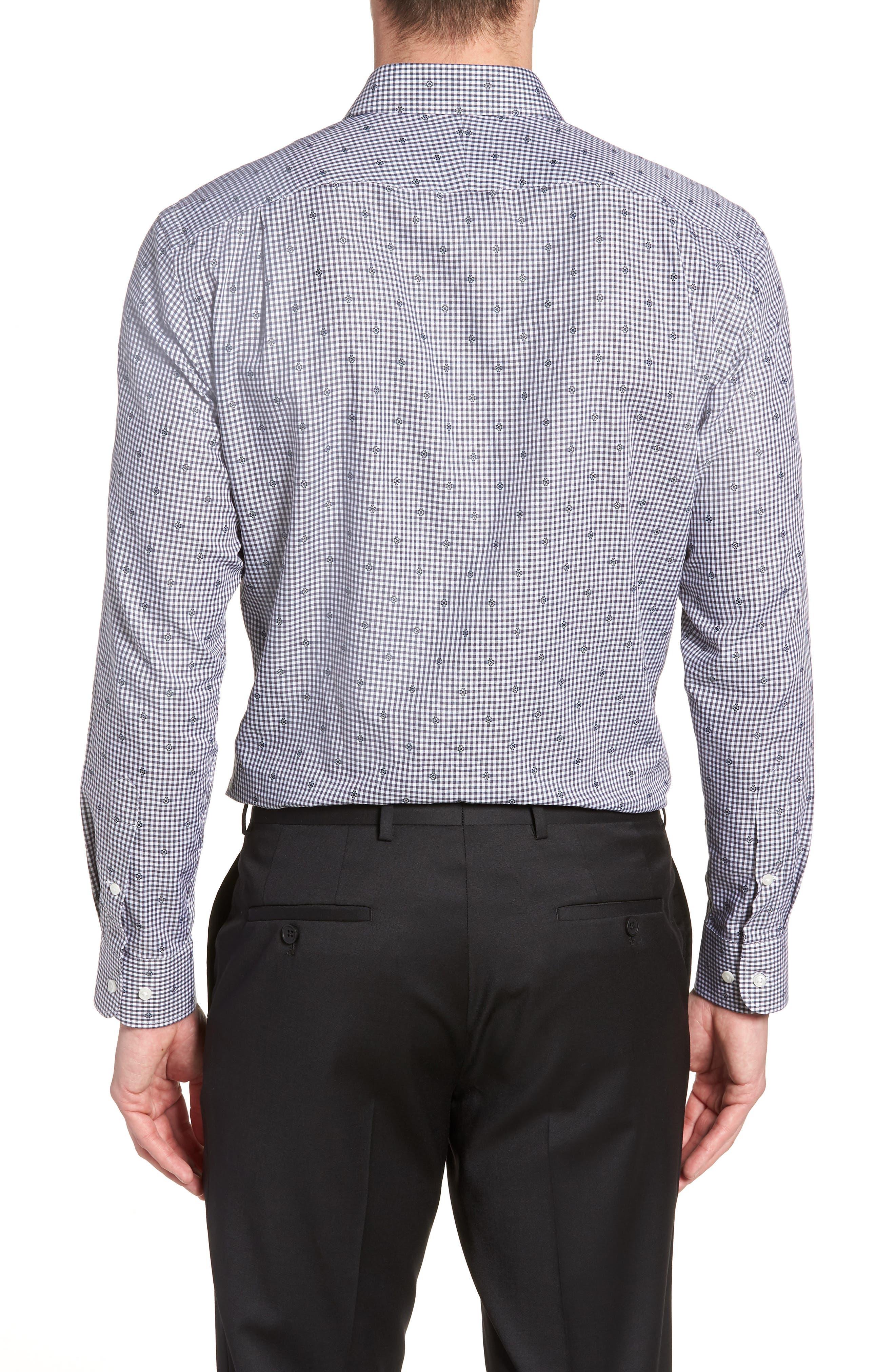 Trim Fit Check Dress Shirt,                             Alternate thumbnail 3, color,