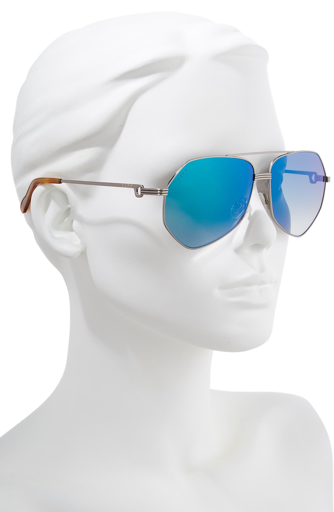 Sidney Geo Aviator Sunglasses,                             Alternate thumbnail 2, color,                             LIGHT GUNMETAL/ HONEY/ BLUE