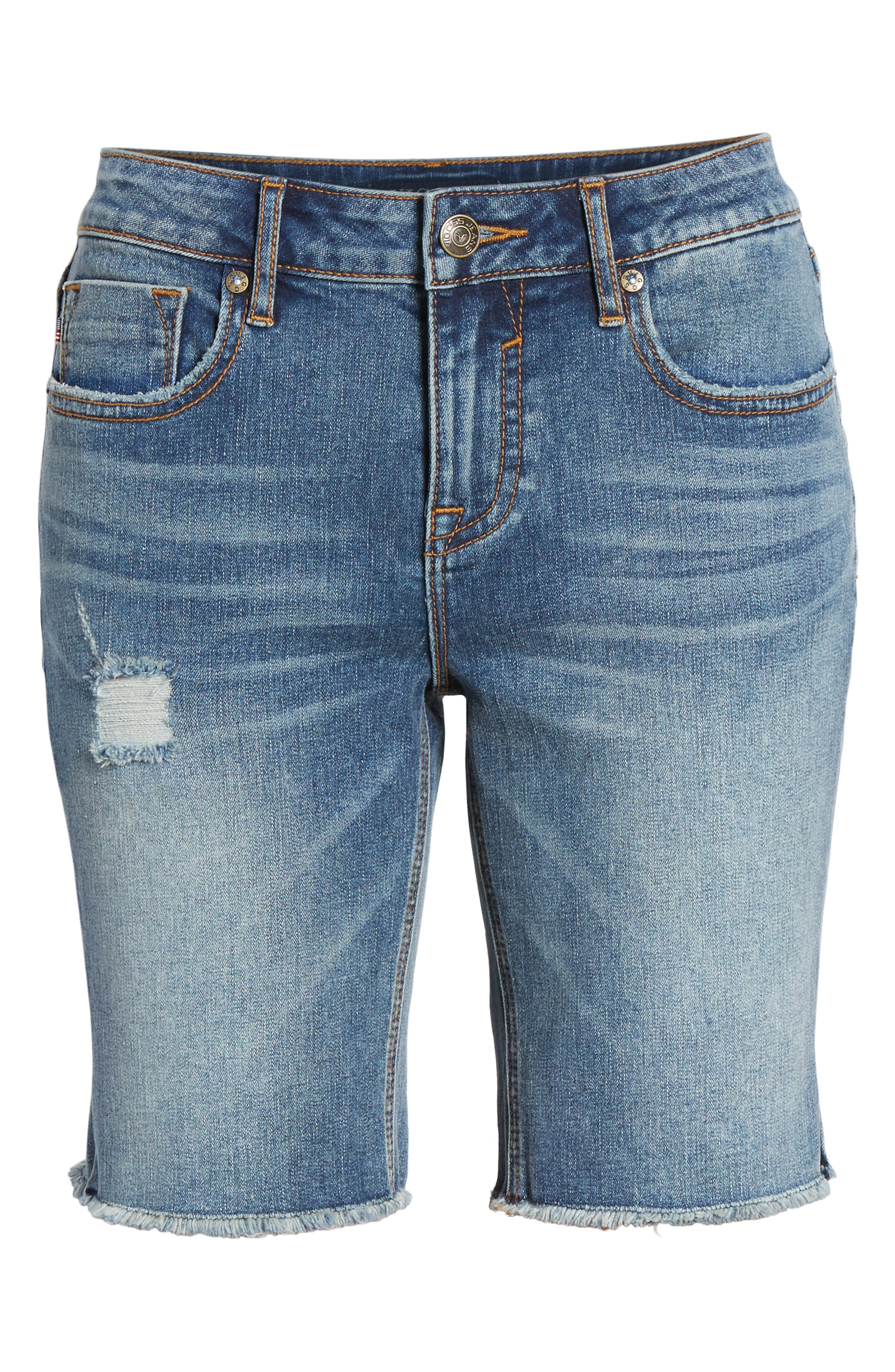 Distressed Denim Bermuda Shorts,                             Alternate thumbnail 6, color,