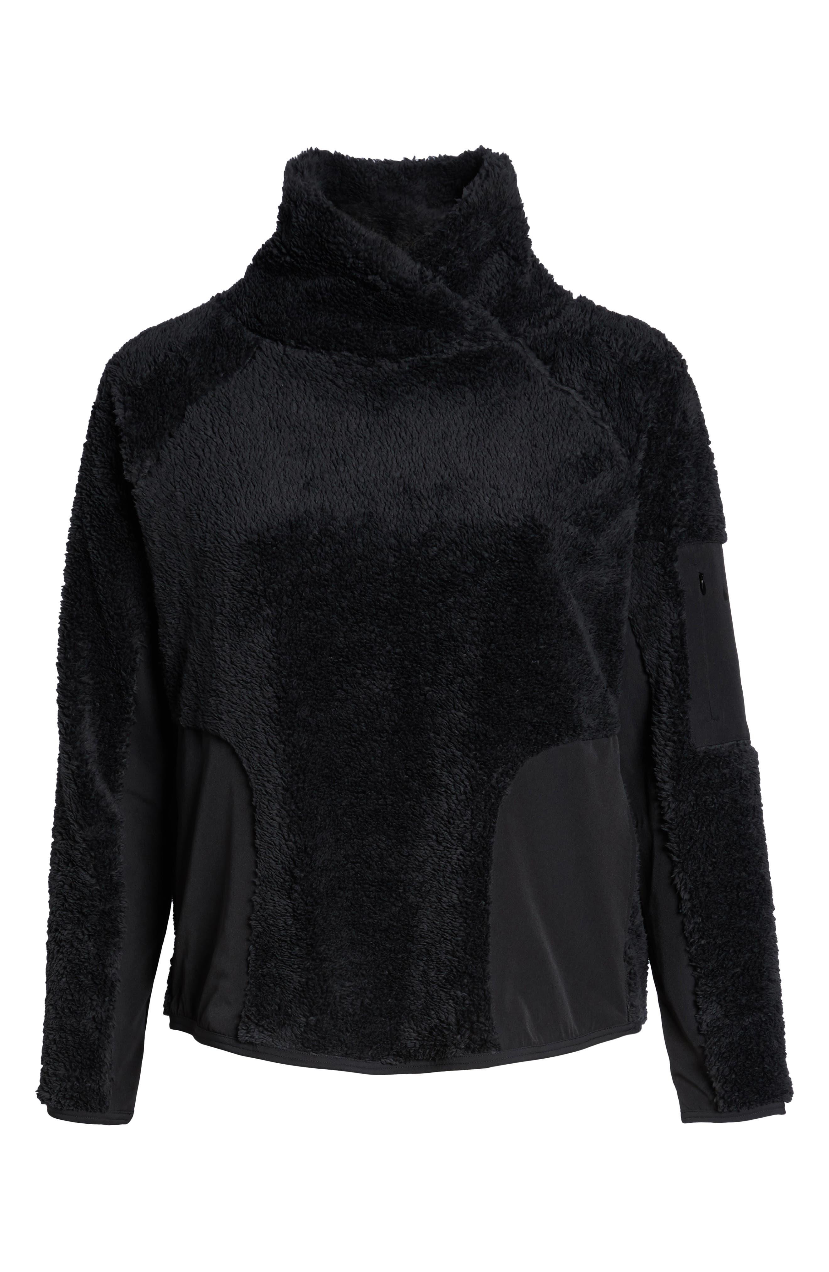 NIKE,                             Faux Shearling Pullover,                             Alternate thumbnail 7, color,                             BLACK/ BLACK