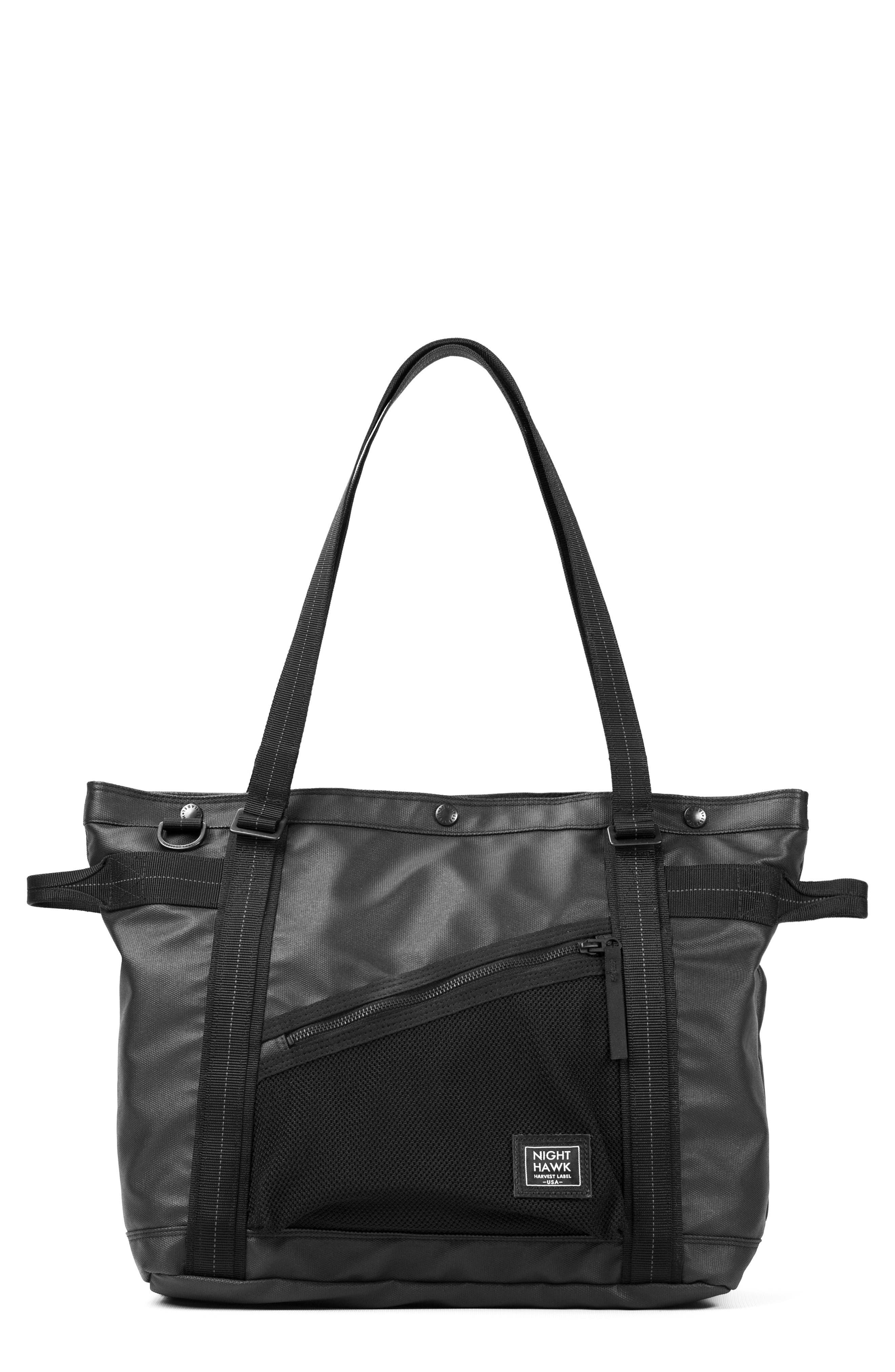 'NightHawk' Tote Bag,                             Alternate thumbnail 3, color,                             BLACK