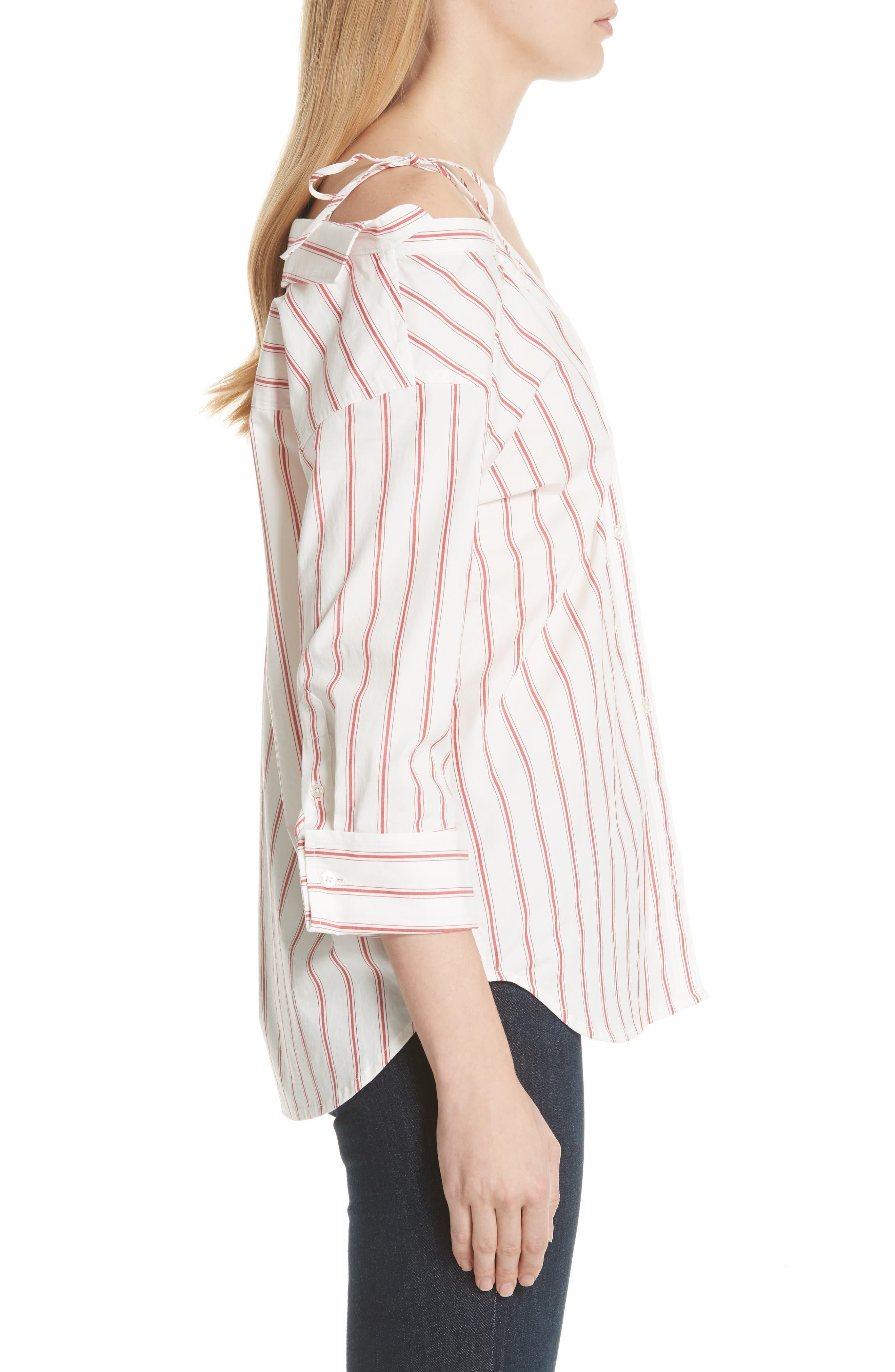 Alvina Tie Front Stripe Shirt,                             Alternate thumbnail 3, color,                             600