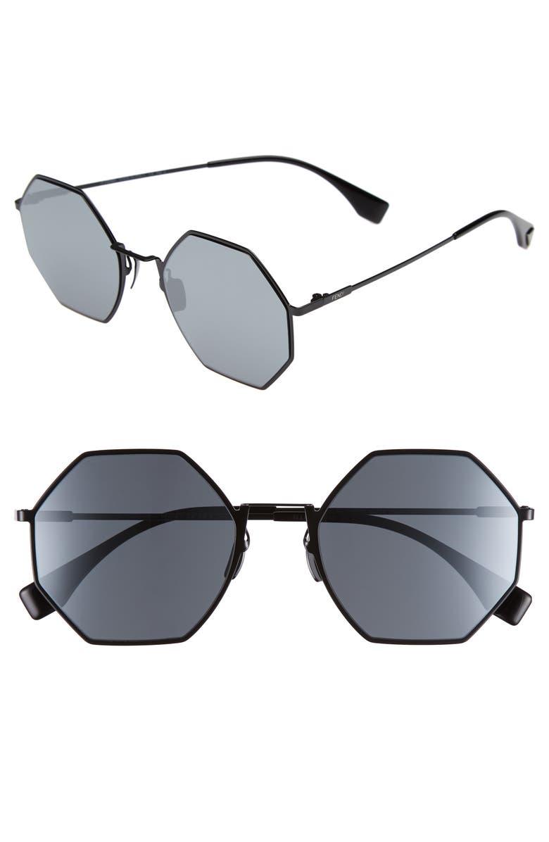 fendi 53mm octagonal polarized metal sunglasses nordstrom