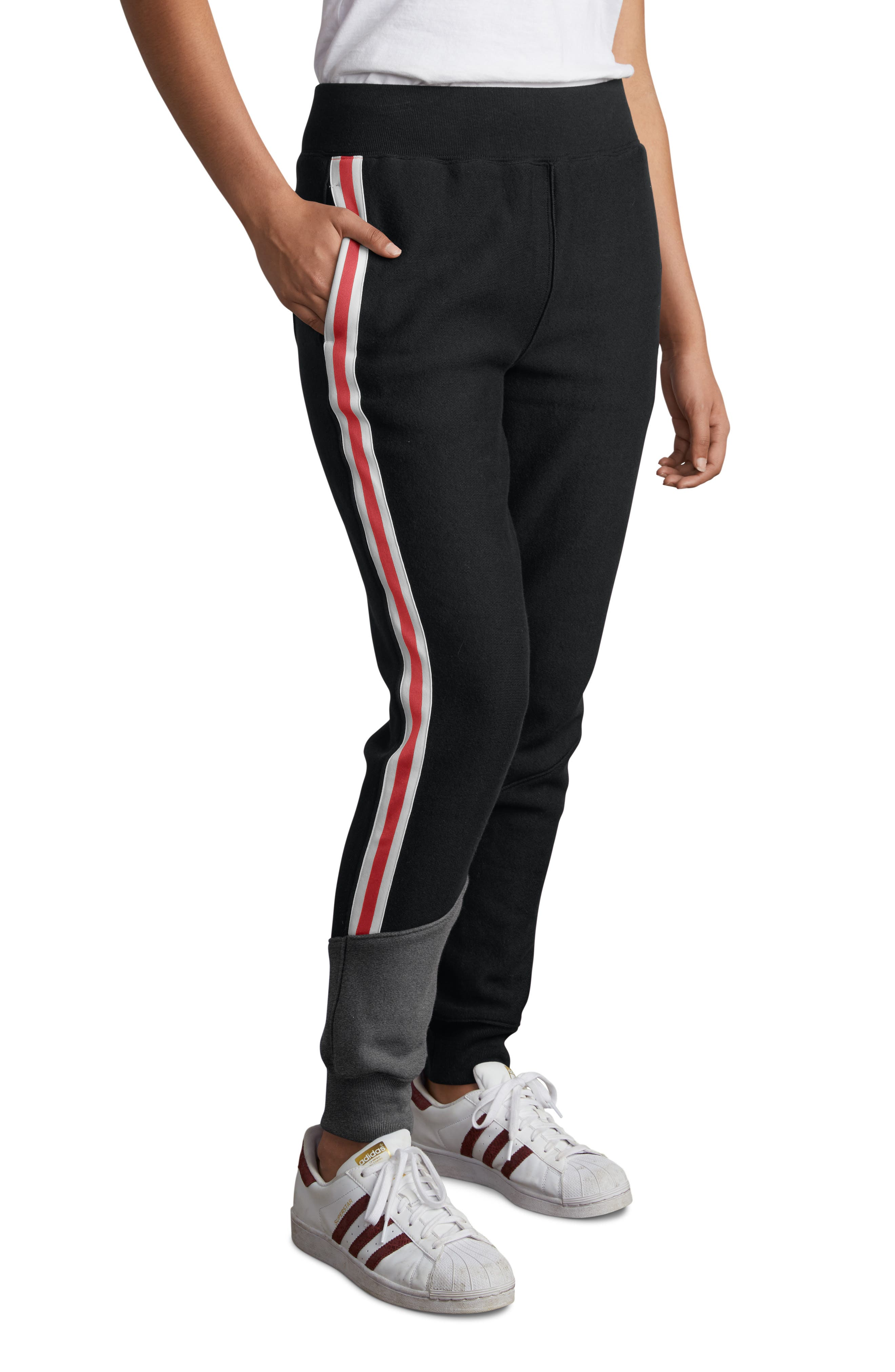 Color Block Jogger Pants,                         Main,                         color, BLACK/ GRANITE HEATHER