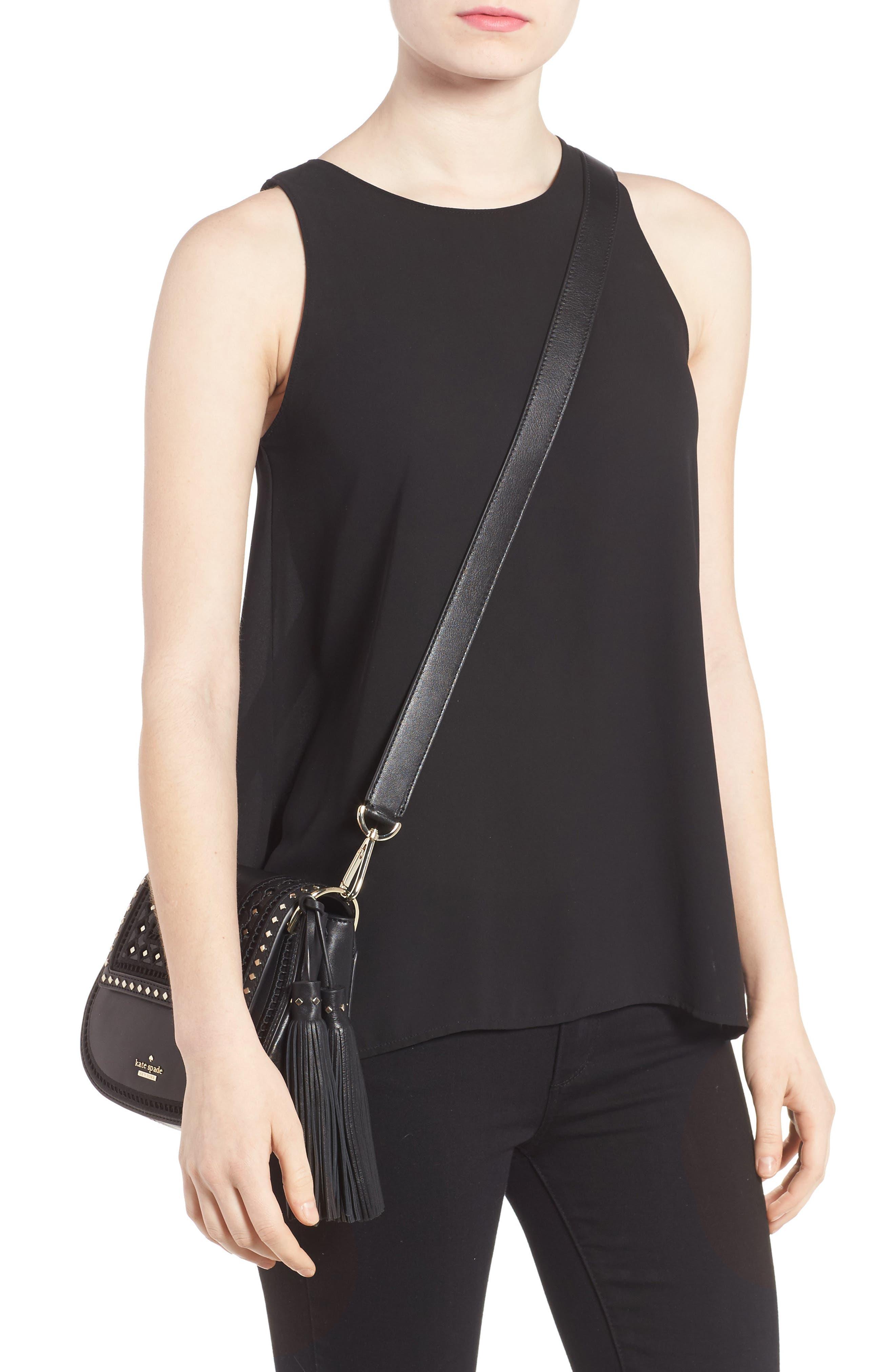basset lane - small emaline leather crossbody bag,                             Alternate thumbnail 2, color,                             001