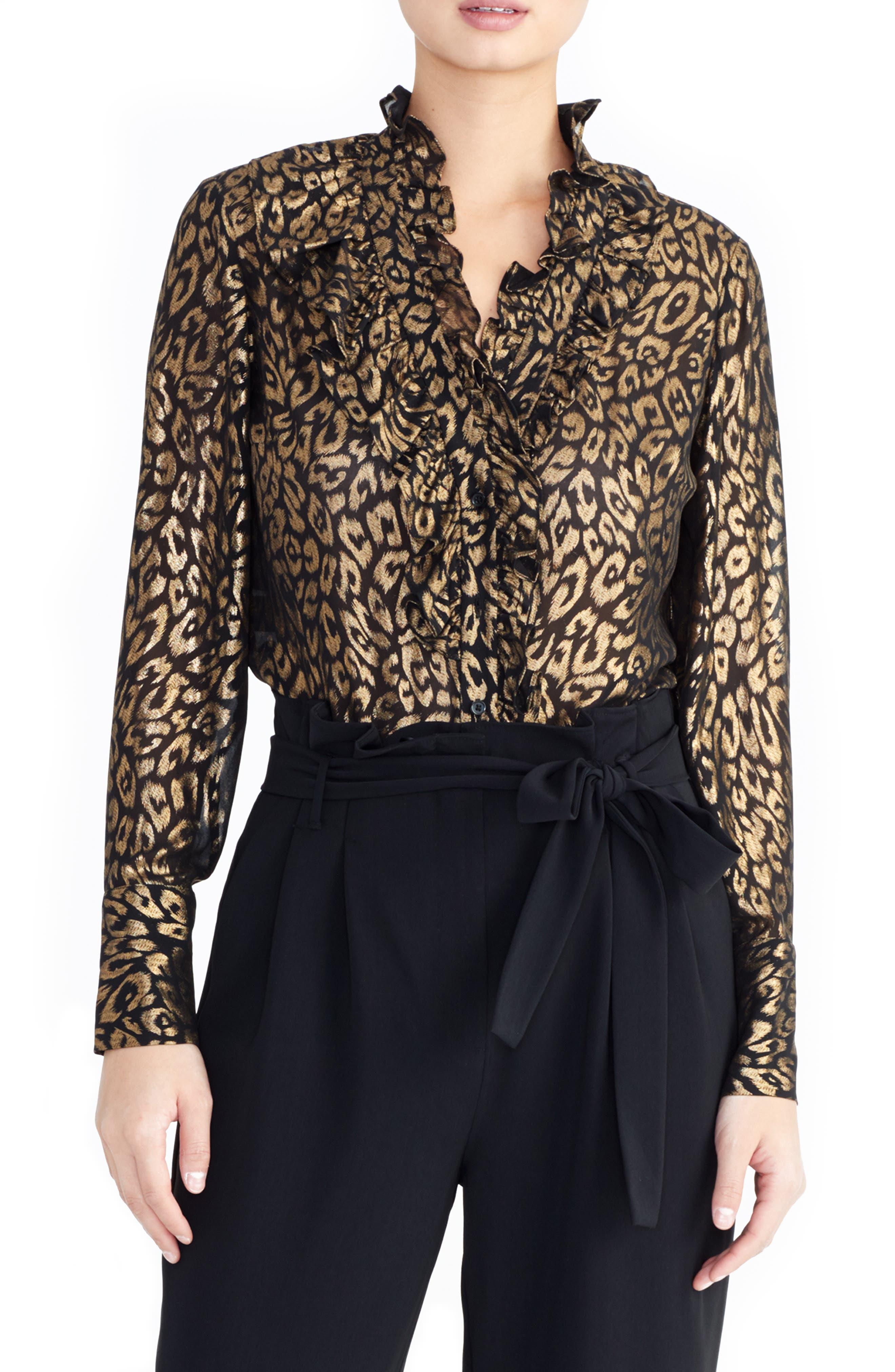 Metallic Tuxedo Blouse,                         Main,                         color, GOLD/ BLACK COMBO
