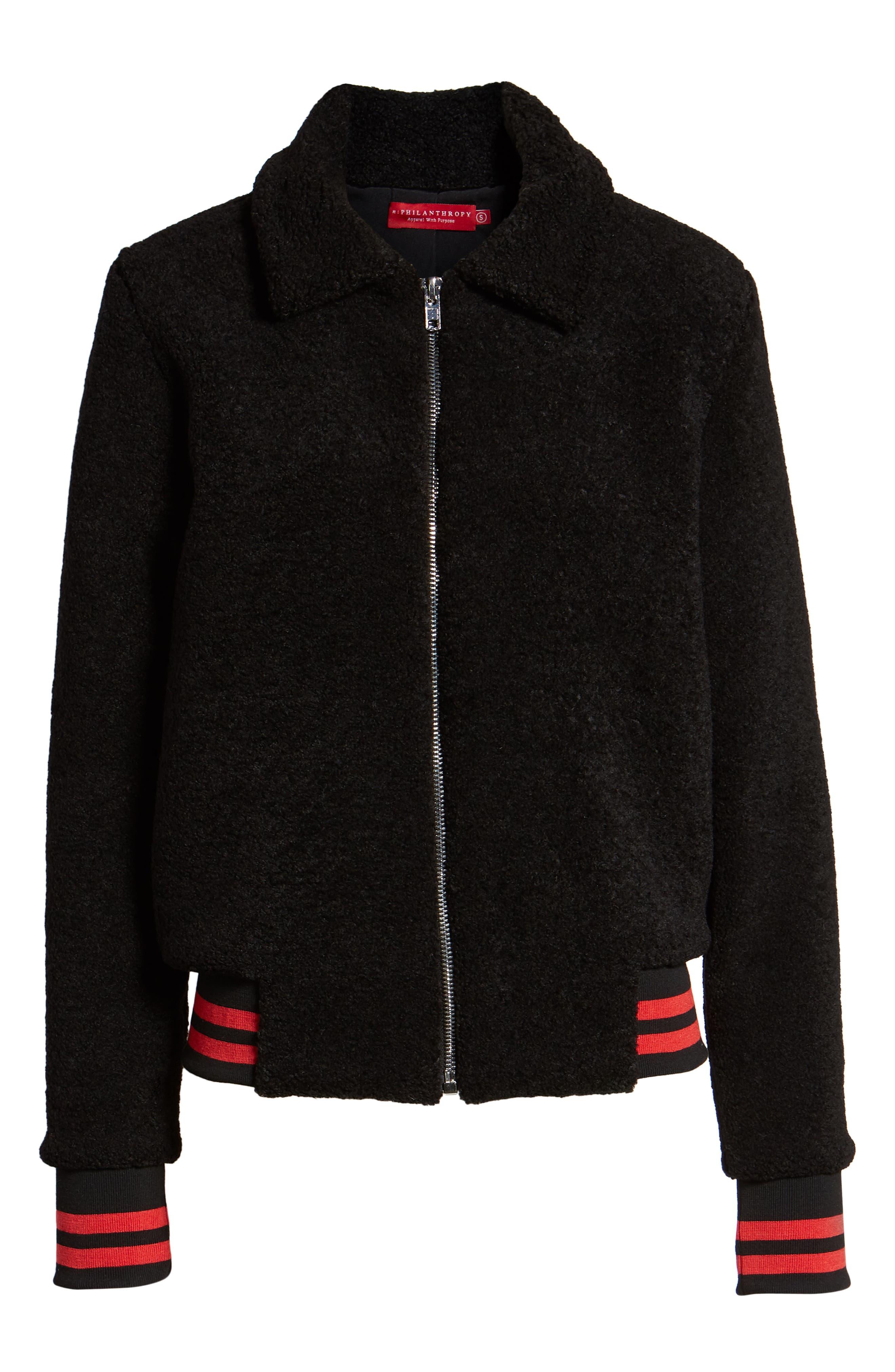 Gray Faux Fur Track Jacket,                             Alternate thumbnail 6, color,                             BLACK CAT
