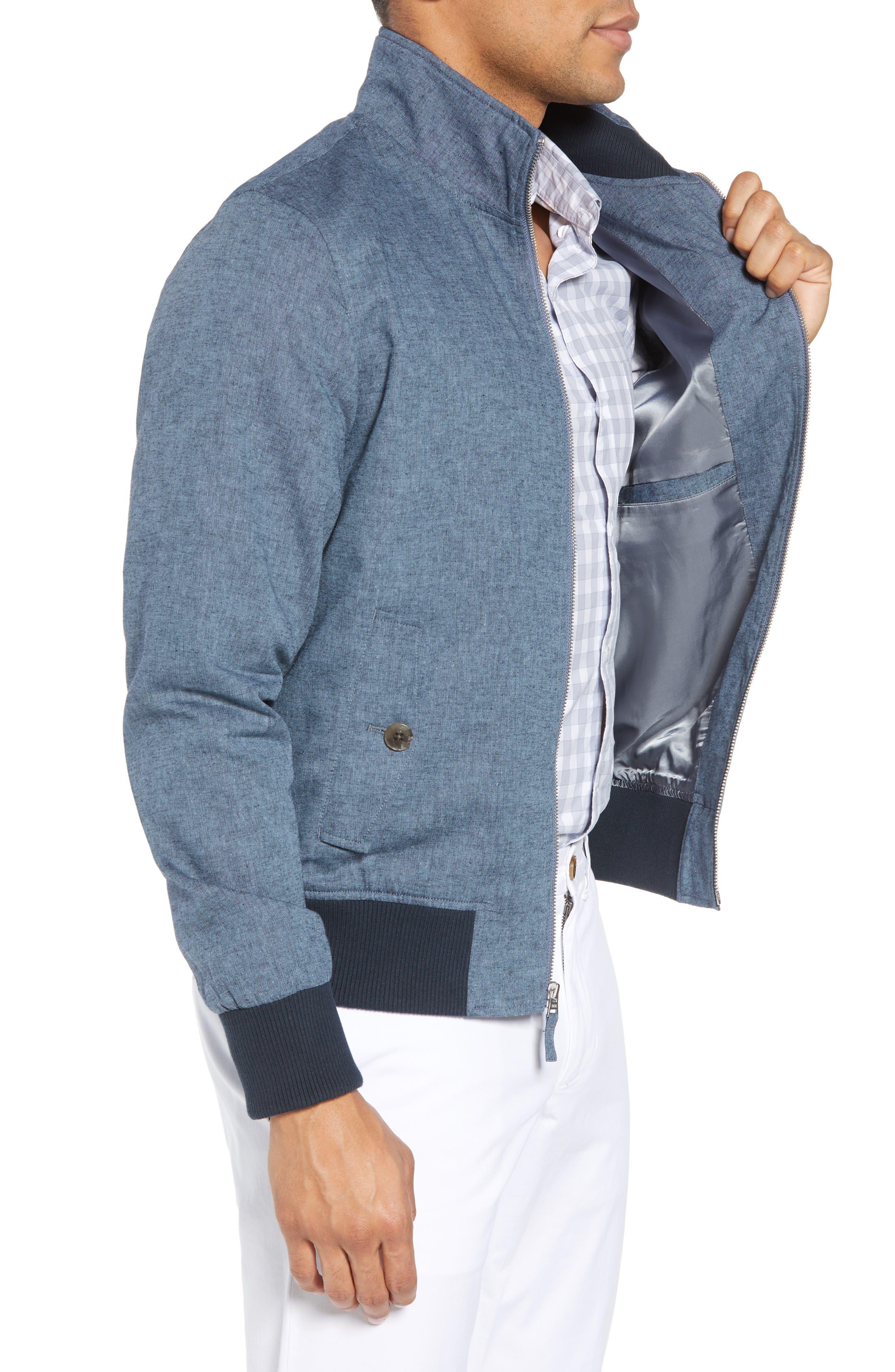 Linen & Cotton Chambray Bomber Jacket,                             Alternate thumbnail 3, color,                             400