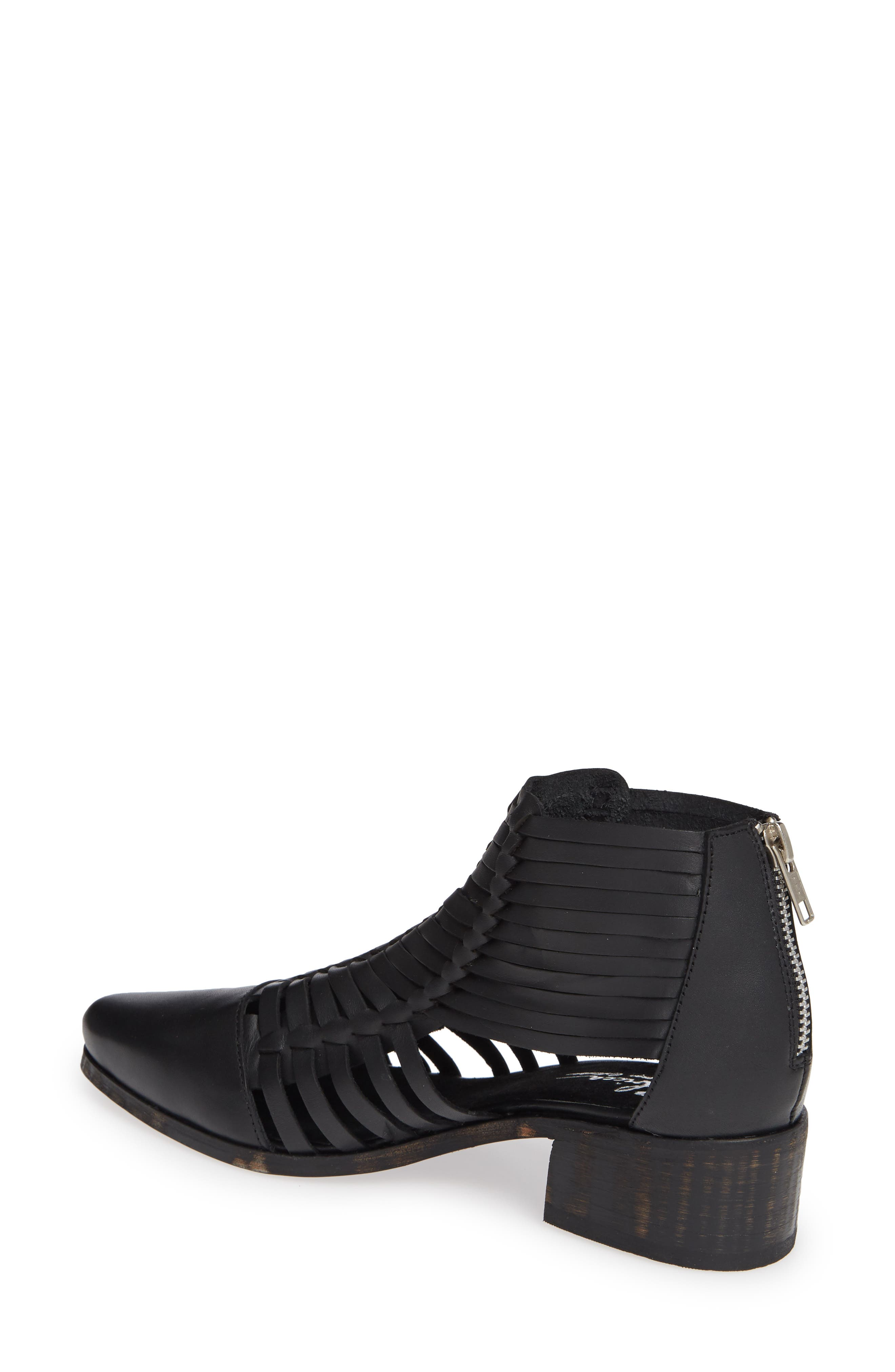 Rosabell Woven Bootie,                             Alternate thumbnail 2, color,                             BLACK LEATHER