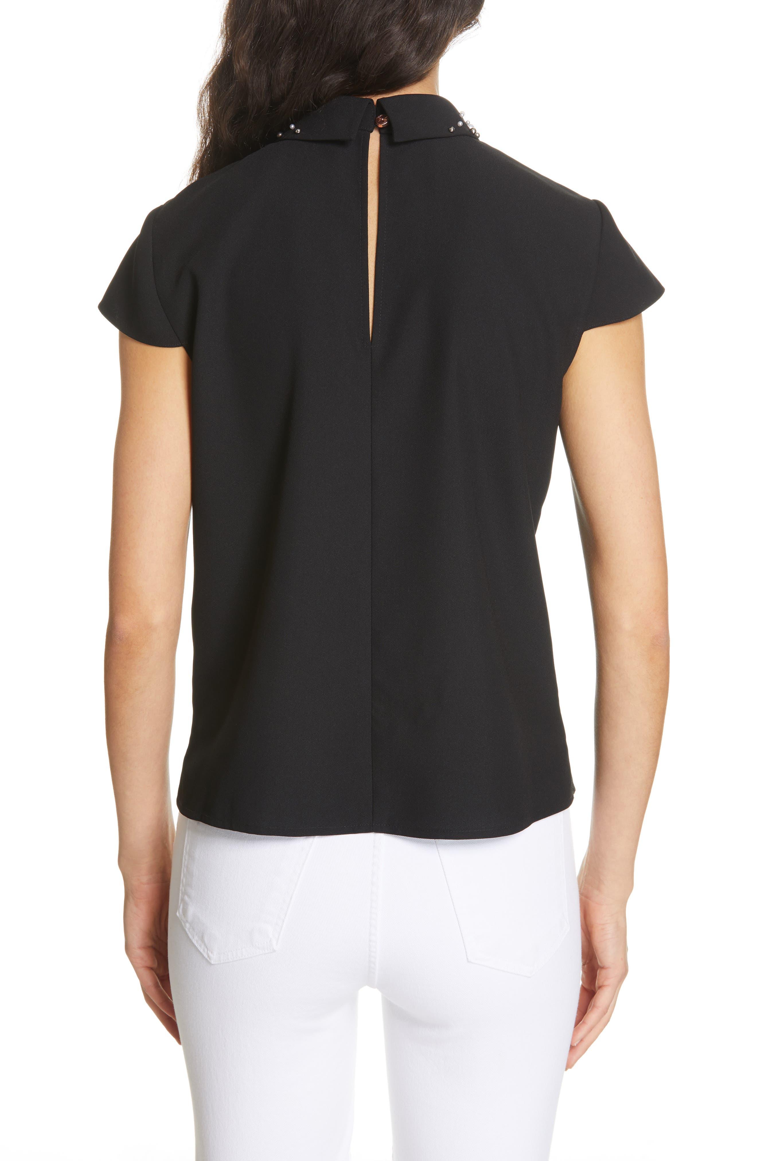 Jaylen Embellished Collar Top,                             Alternate thumbnail 2, color,                             BLACK