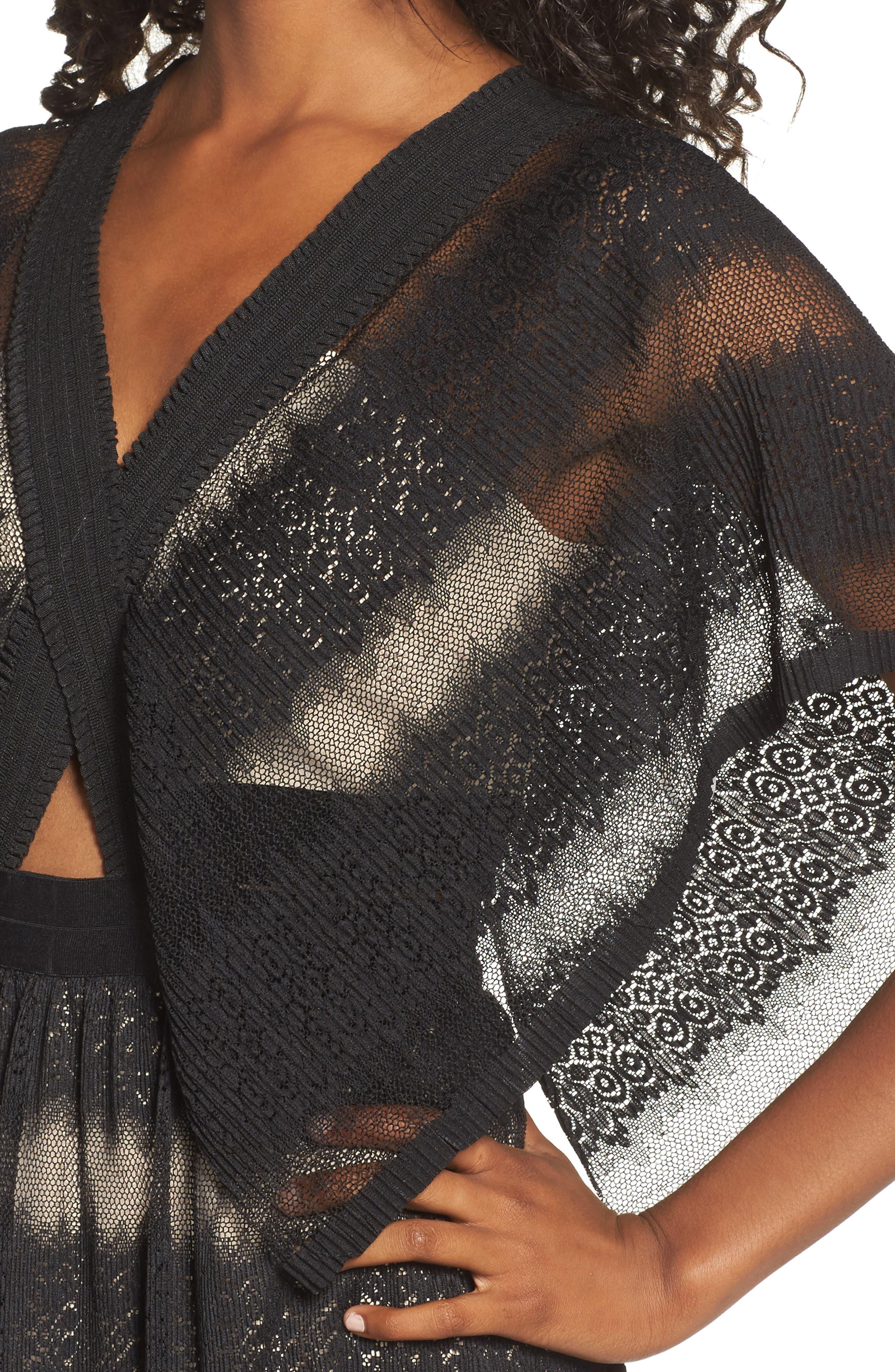 Angelique Deep V-Neck Lace Dress,                             Alternate thumbnail 4, color,                             001