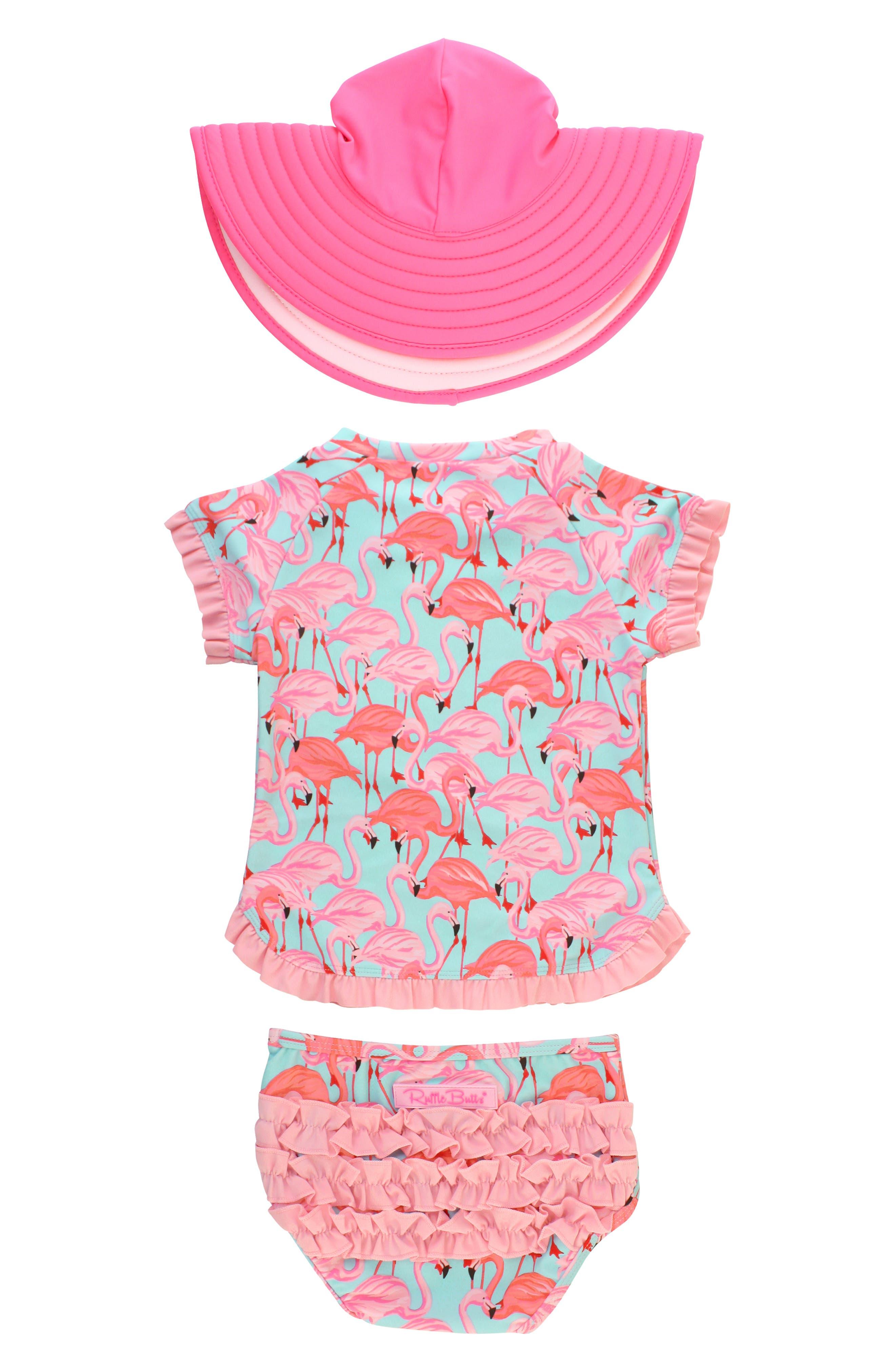Rufflebutts flamingo two piece rashguard swimsuit hat set baby jpg 780x1196  Toddler flamingo hat a495be91bfbe