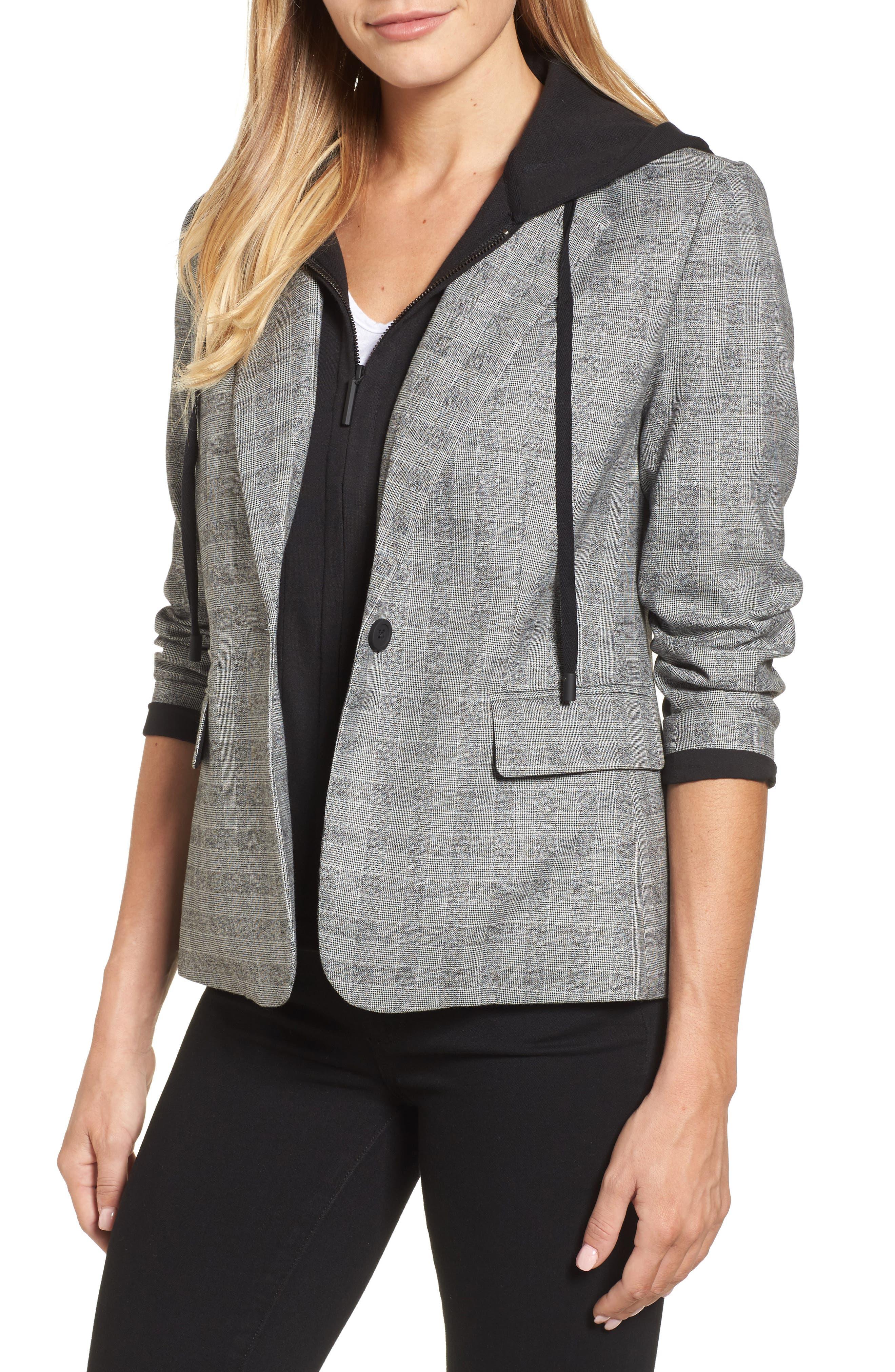 Menswear Removable Hood Plaid Blazer,                             Main thumbnail 1, color,                             086