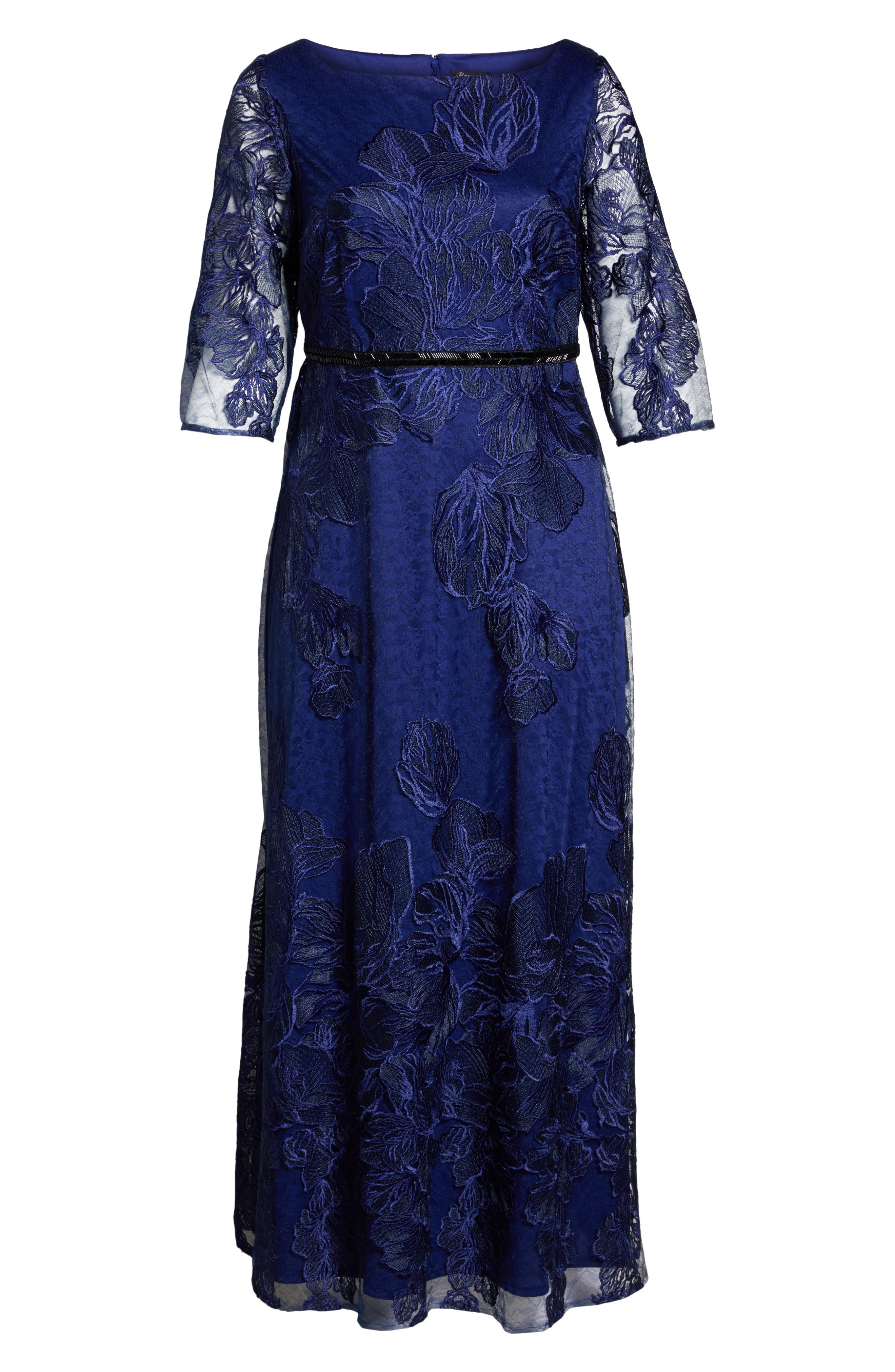 Embellished Floral Lace Gown,                             Alternate thumbnail 6, color,                             410