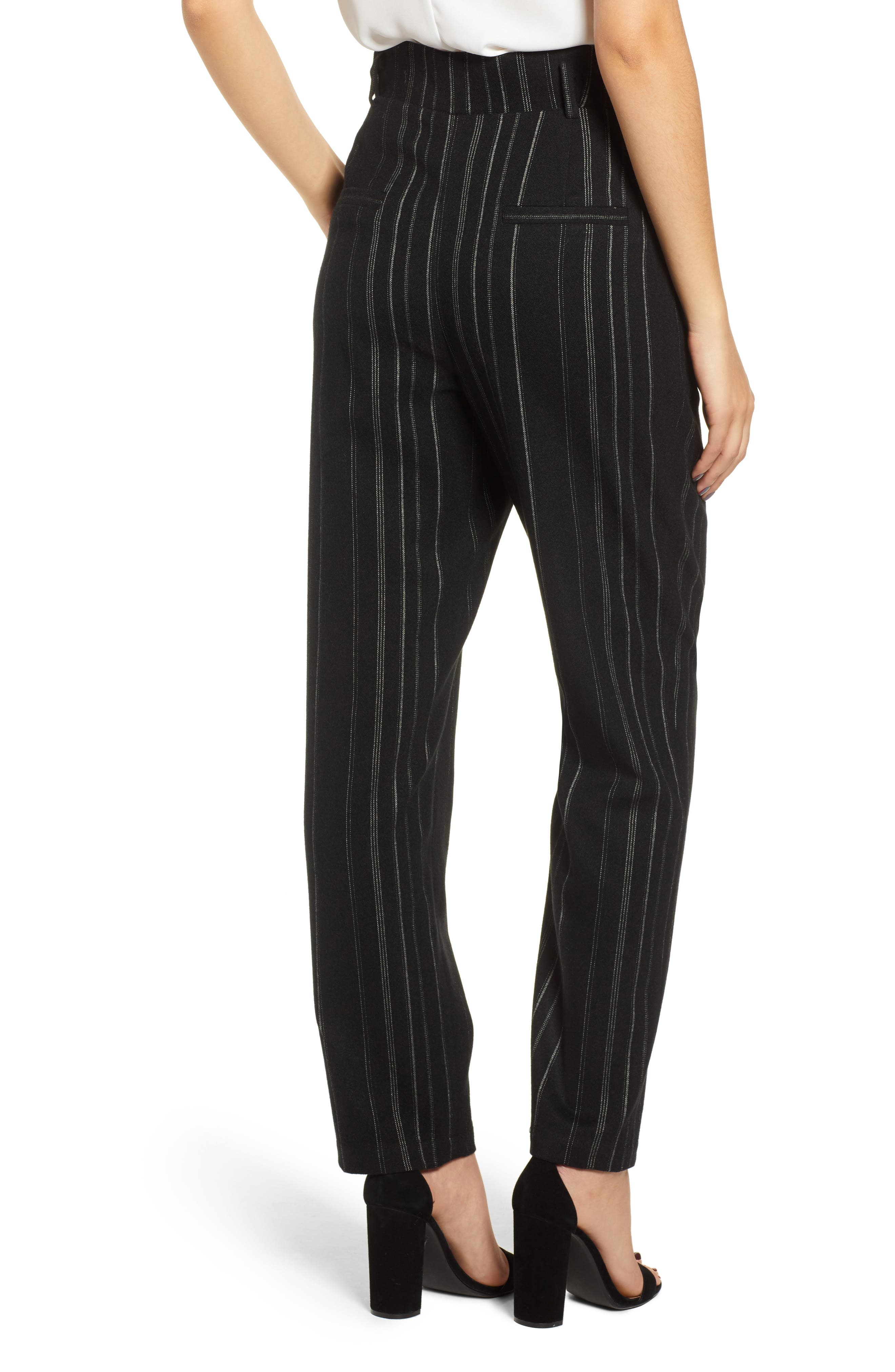 High Rise Belted Paperbag Pants,                             Alternate thumbnail 3, color,                             BLACK MIXED STRIPE