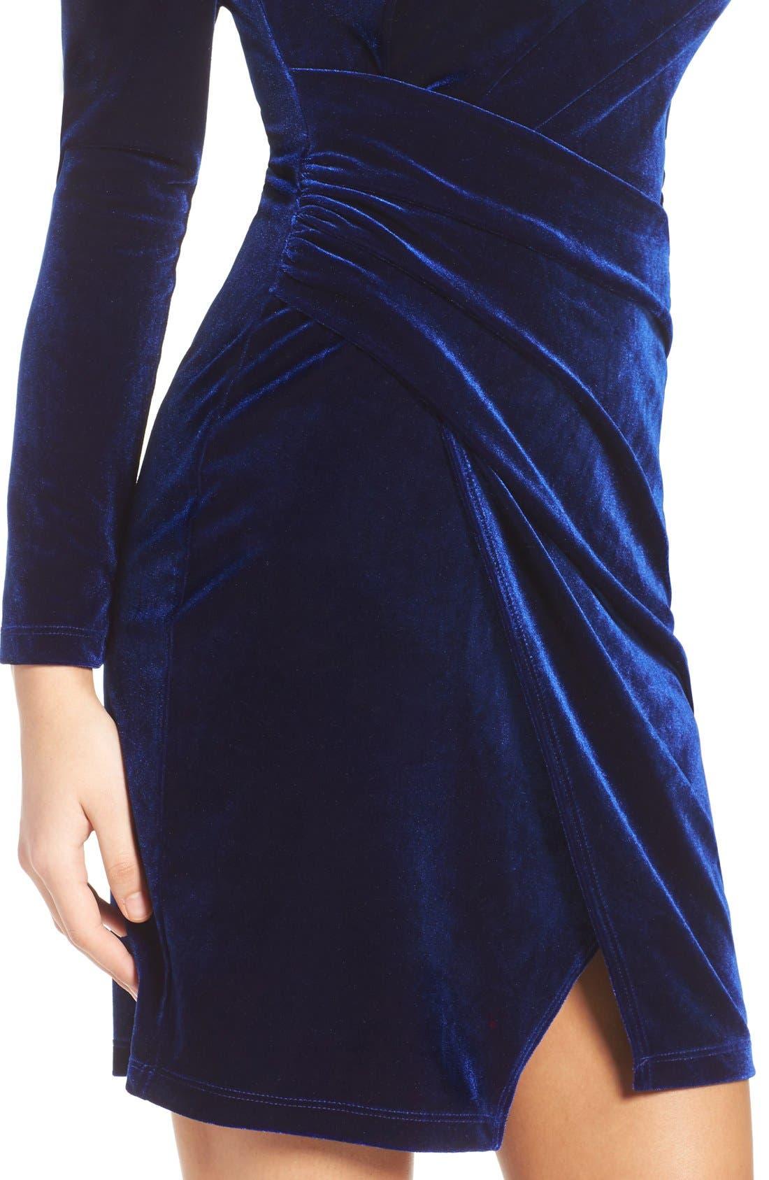 Velvet Body-Con Dress,                             Alternate thumbnail 2, color,                             419
