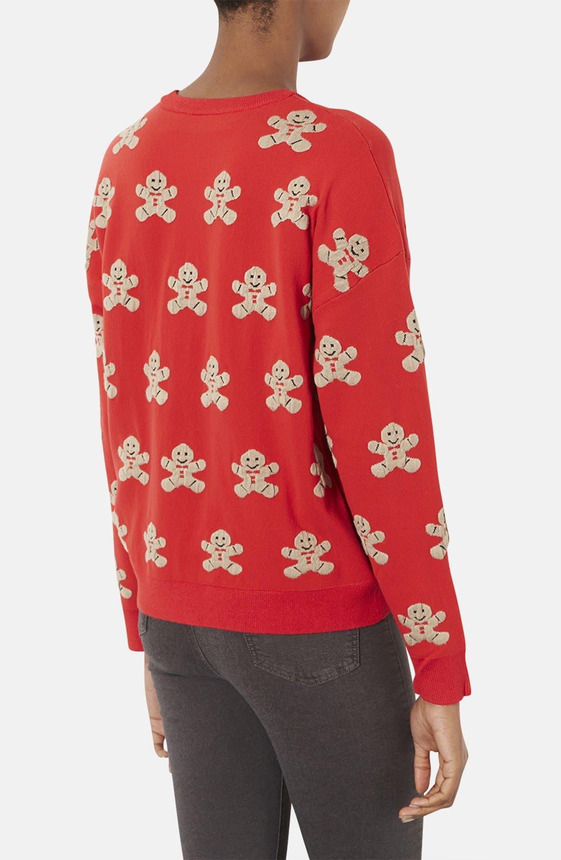 TOPSHOP,                             Gingerbread Man Sweater,                             Alternate thumbnail 2, color,                             600