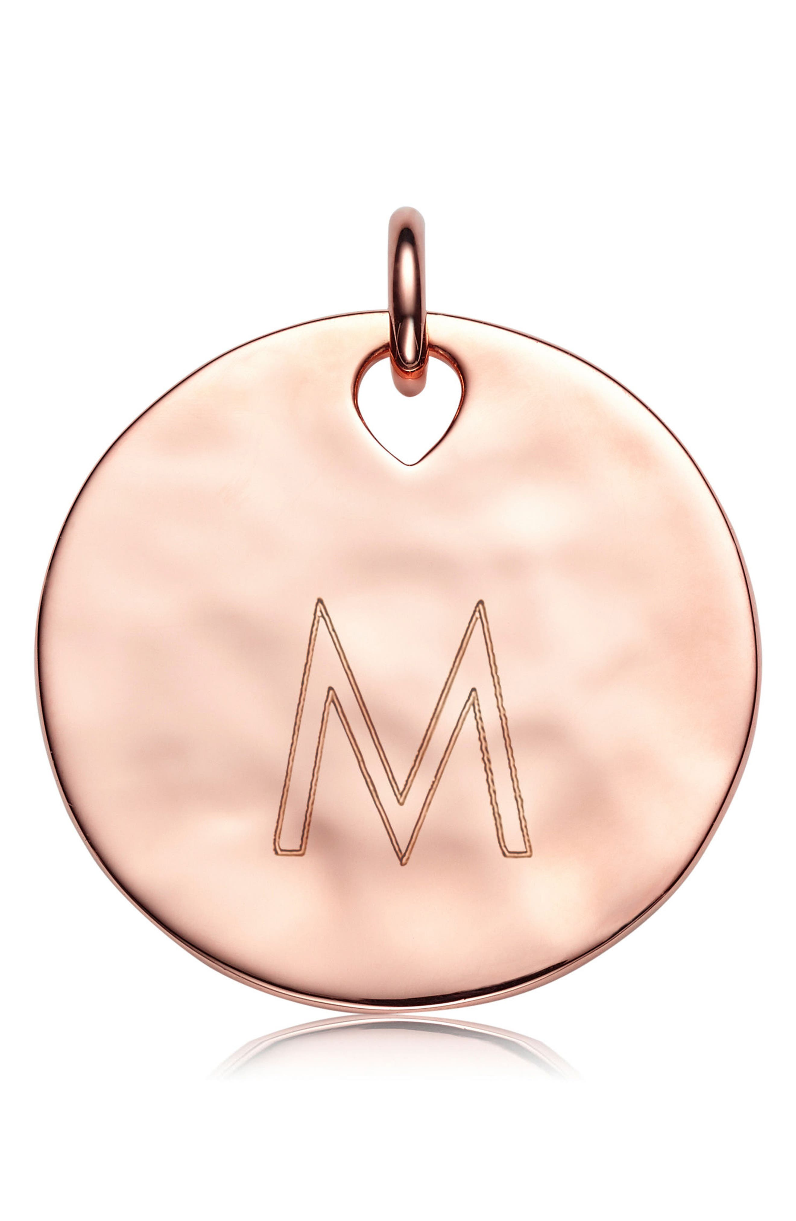 Engravable Havana Round Pendant Charm,                             Alternate thumbnail 4, color,                             ROSE GOLD