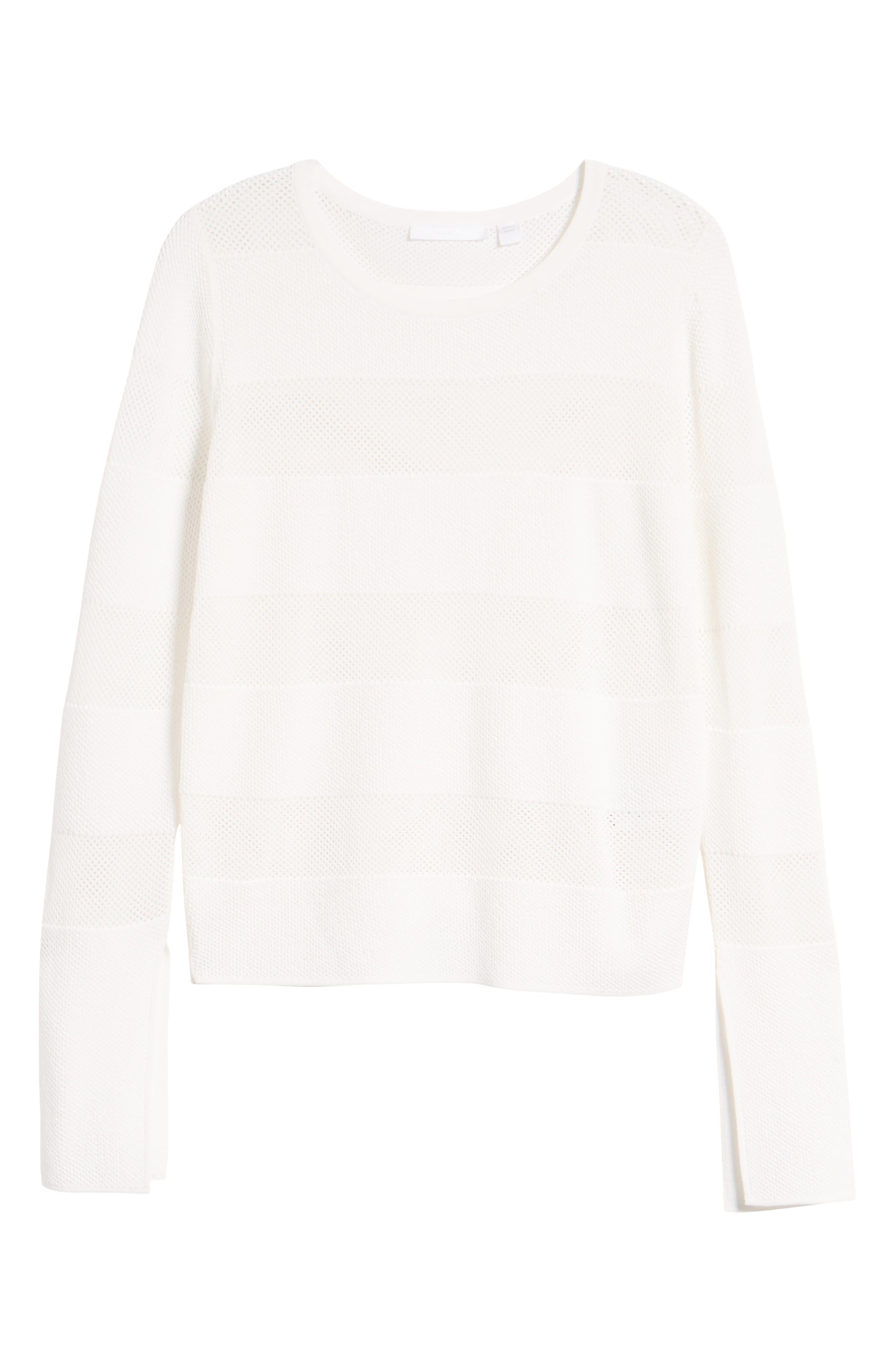 Frangy Mesh Stripe Sweater,                             Alternate thumbnail 7, color,                             112