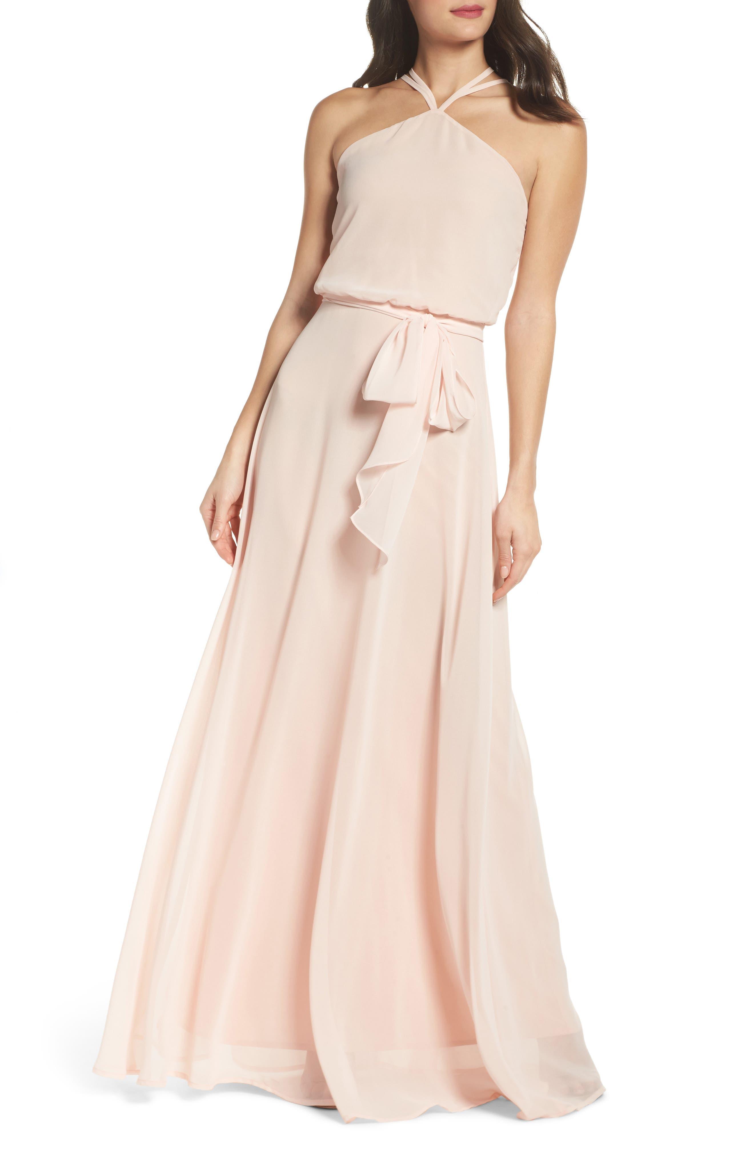 Halter Neck Chiffon Blouson Gown,                             Main thumbnail 2, color,