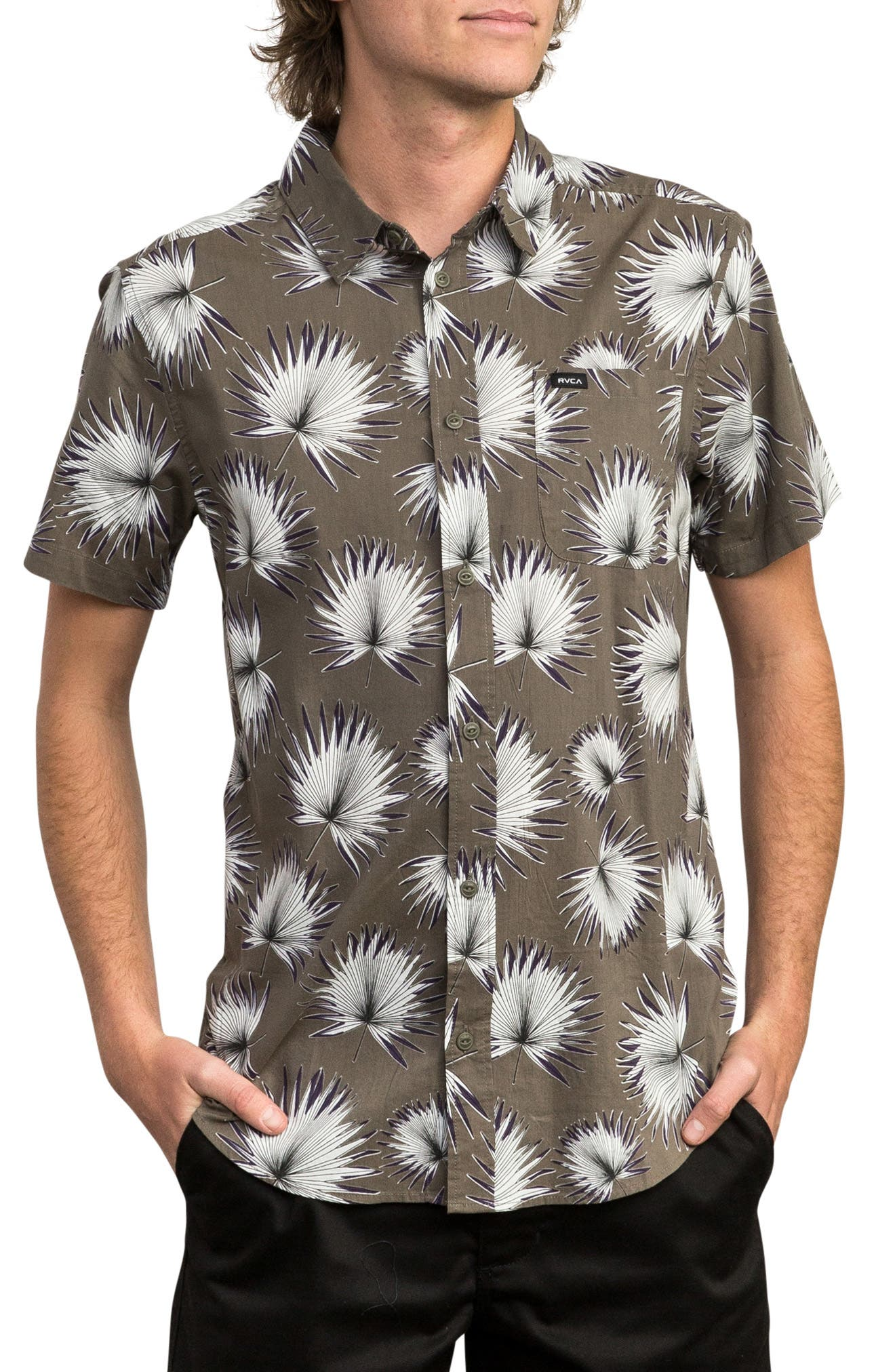 Palms Woven Shirt,                         Main,                         color, OLIVE