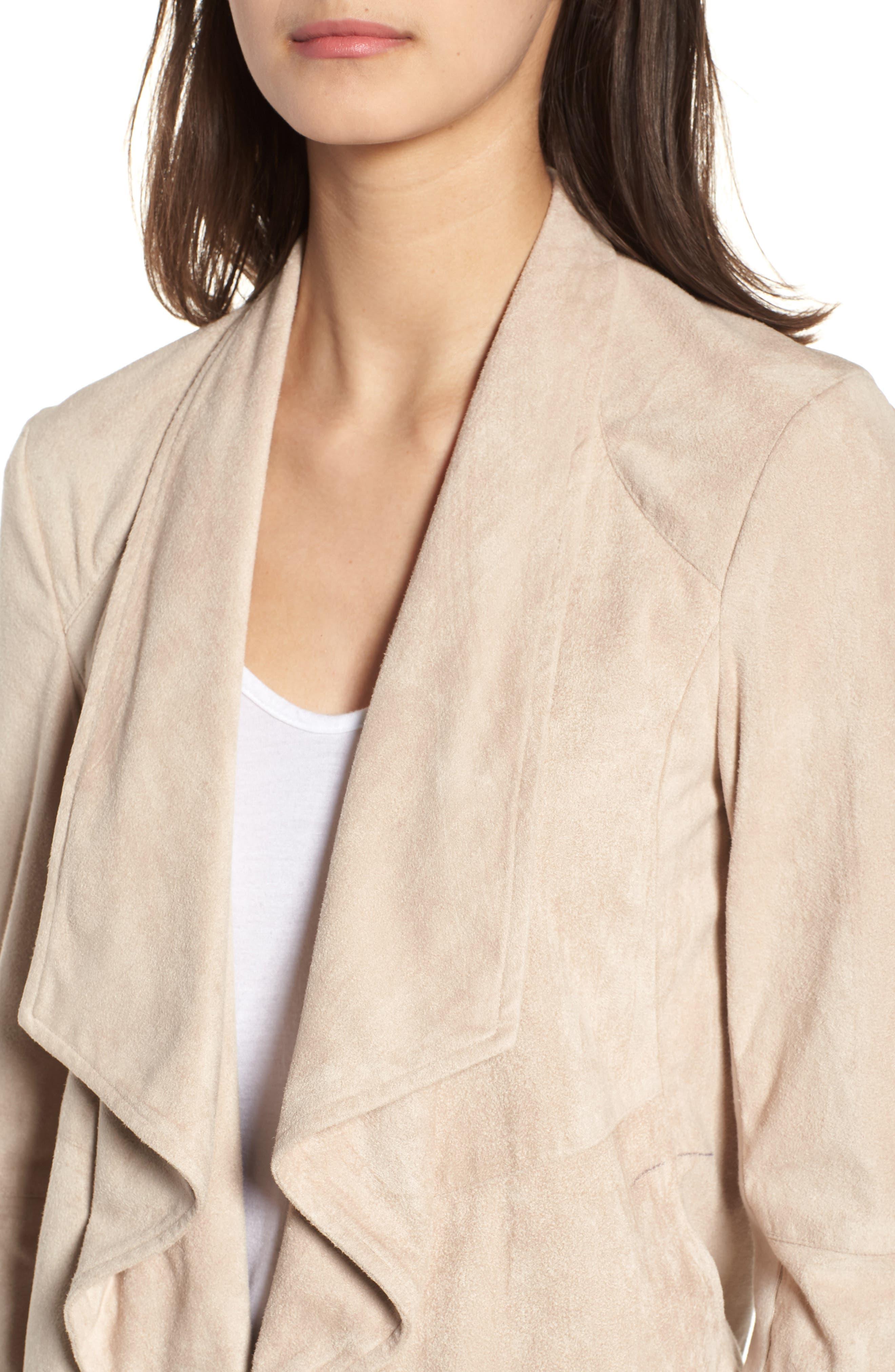 Nicholson Faux Suede Drape Front Jacket,                             Alternate thumbnail 4, color,                             BONE