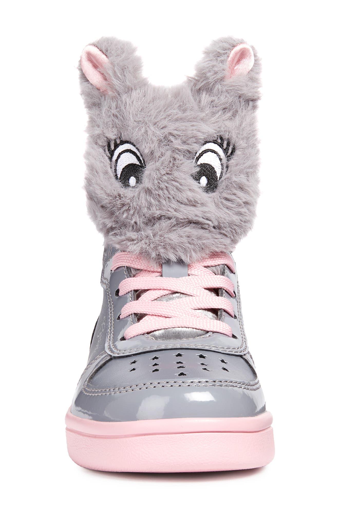 DJ Rock Fuzzy Friend Sneaker,                             Alternate thumbnail 4, color,                             GREY/PINK