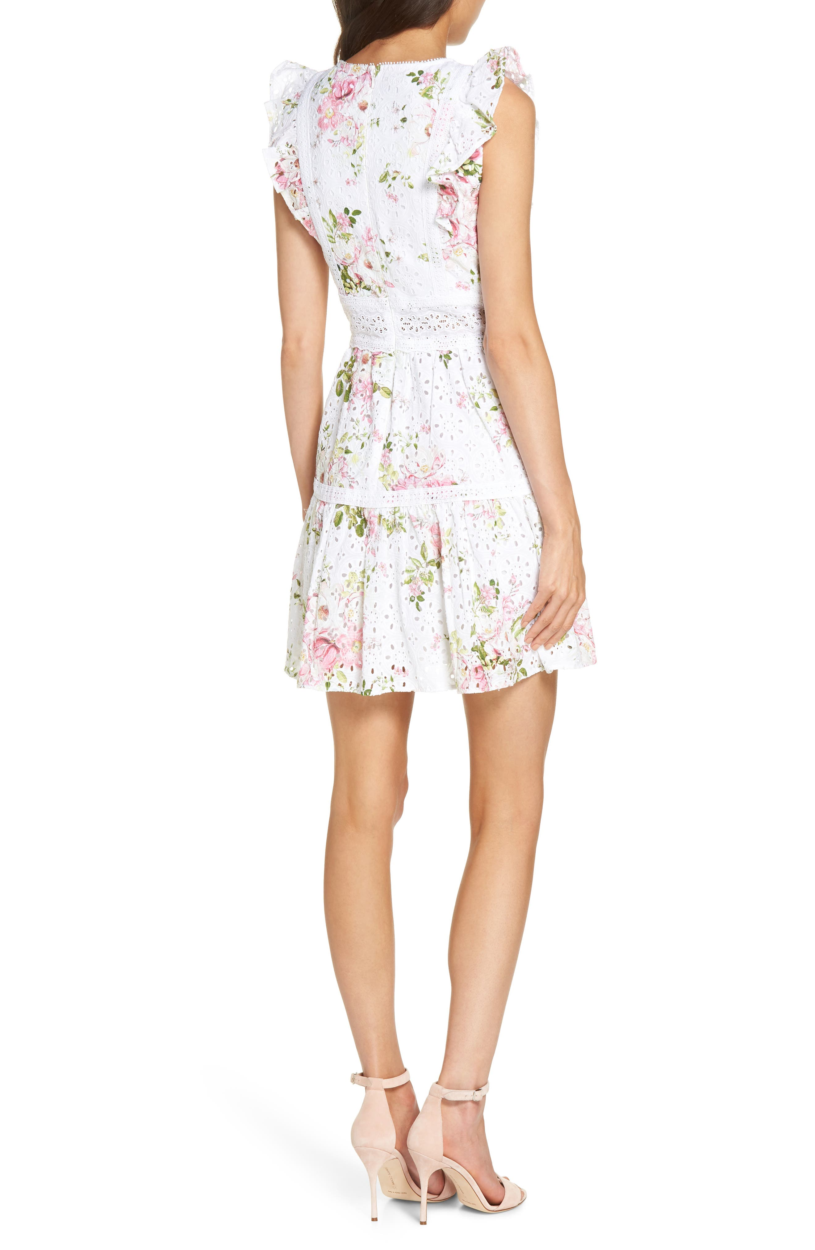 Print Broderie Anglaise Fit & Flare Dress,                             Alternate thumbnail 2, color,                             100