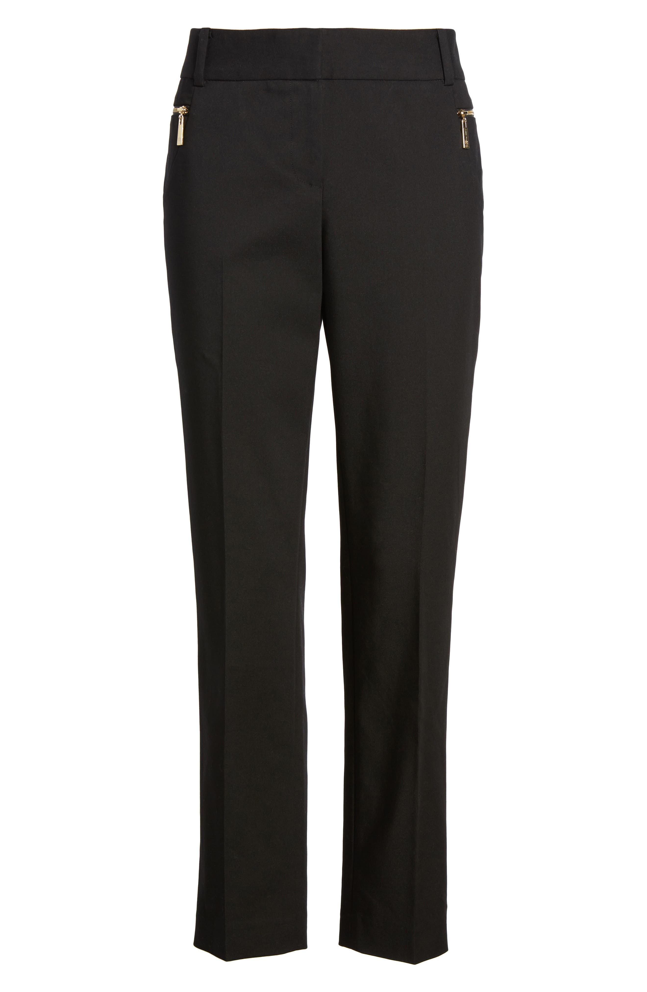 Dena Zip Pocket Ankle Pants,                             Alternate thumbnail 6, color,                             001
