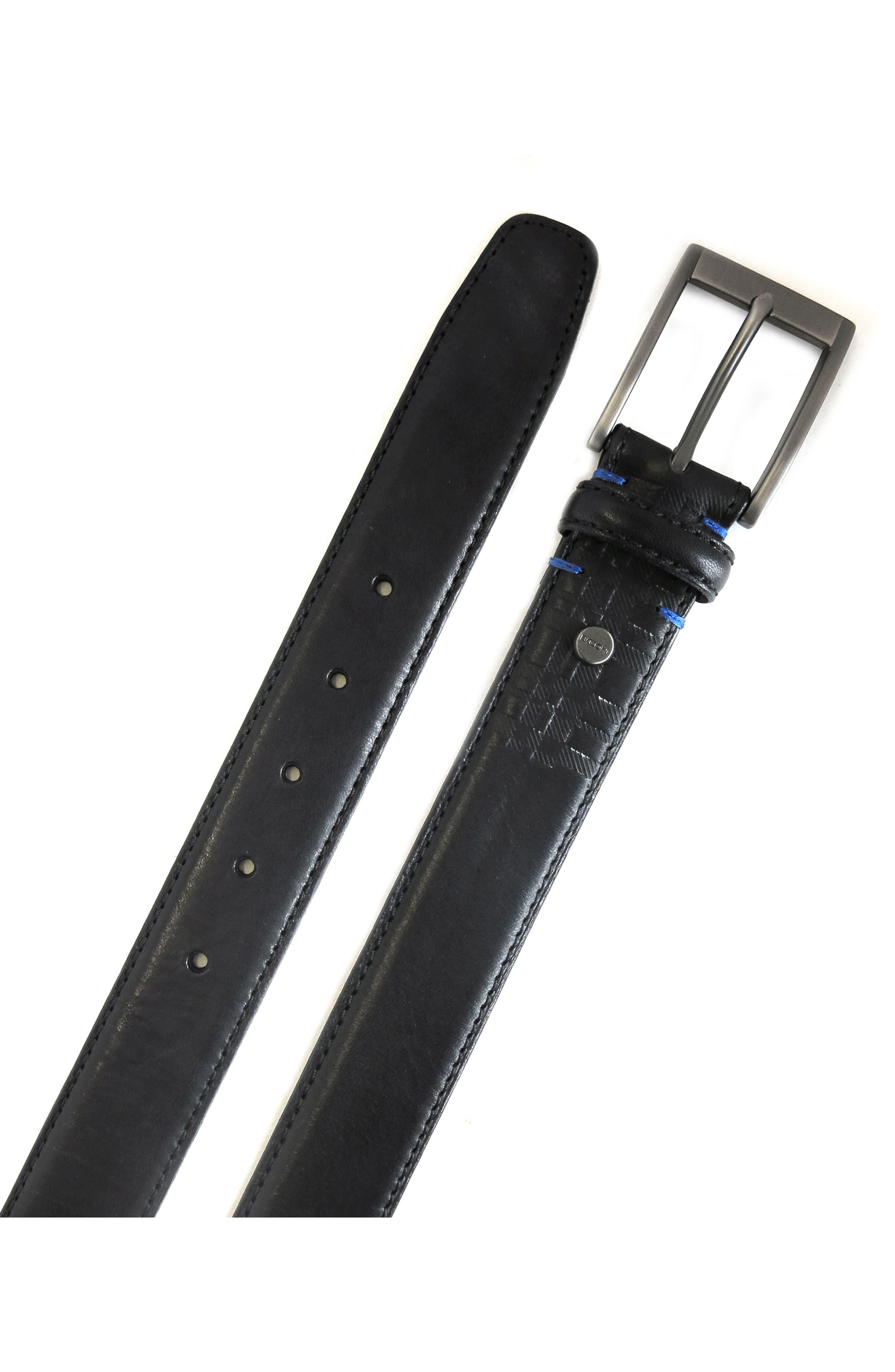Collins Leather Belt,                             Alternate thumbnail 2, color,                             BLACK