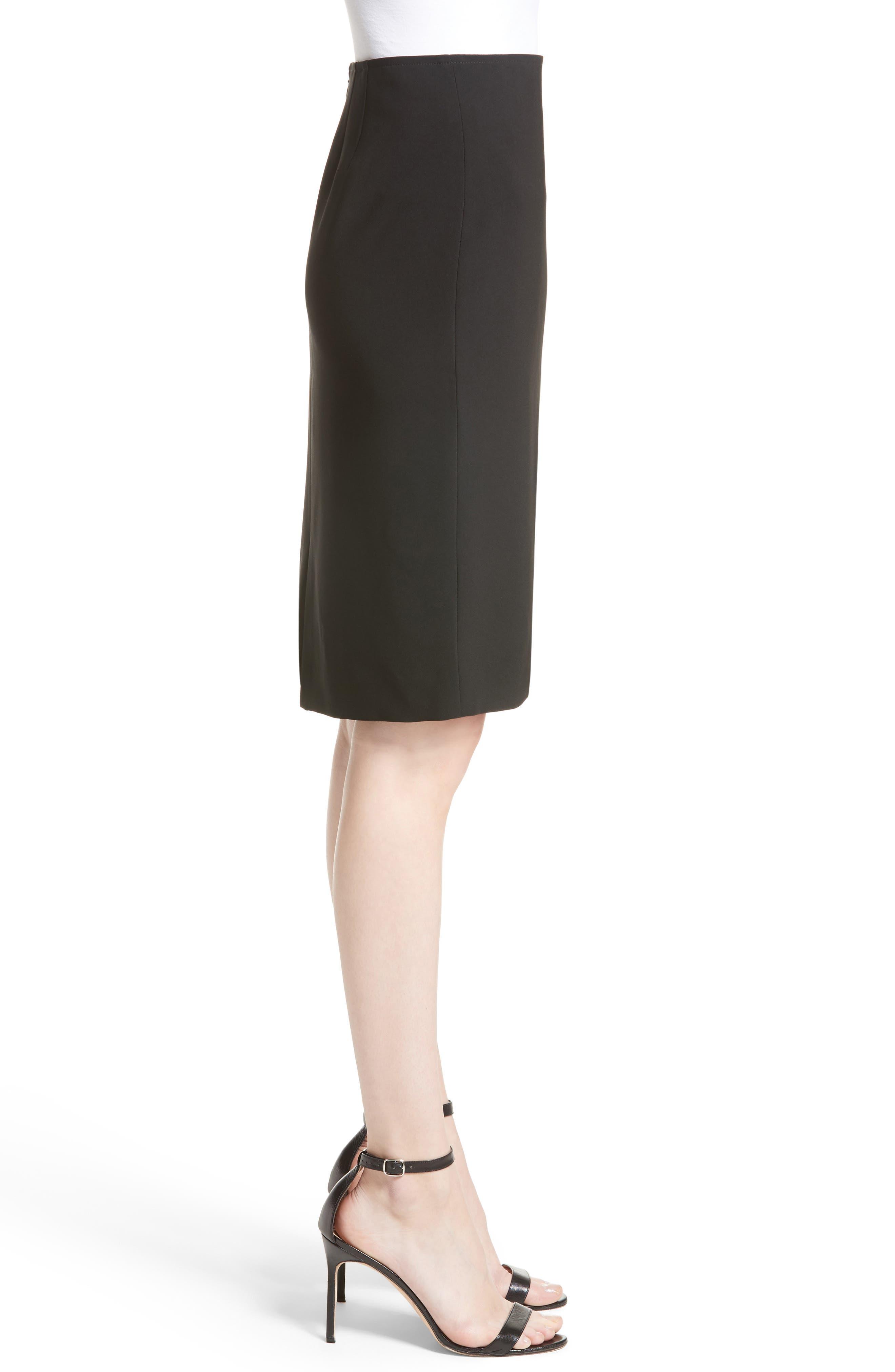 Crepe Marocain Pencil Skirt,                             Alternate thumbnail 4, color,                             CAVIAR