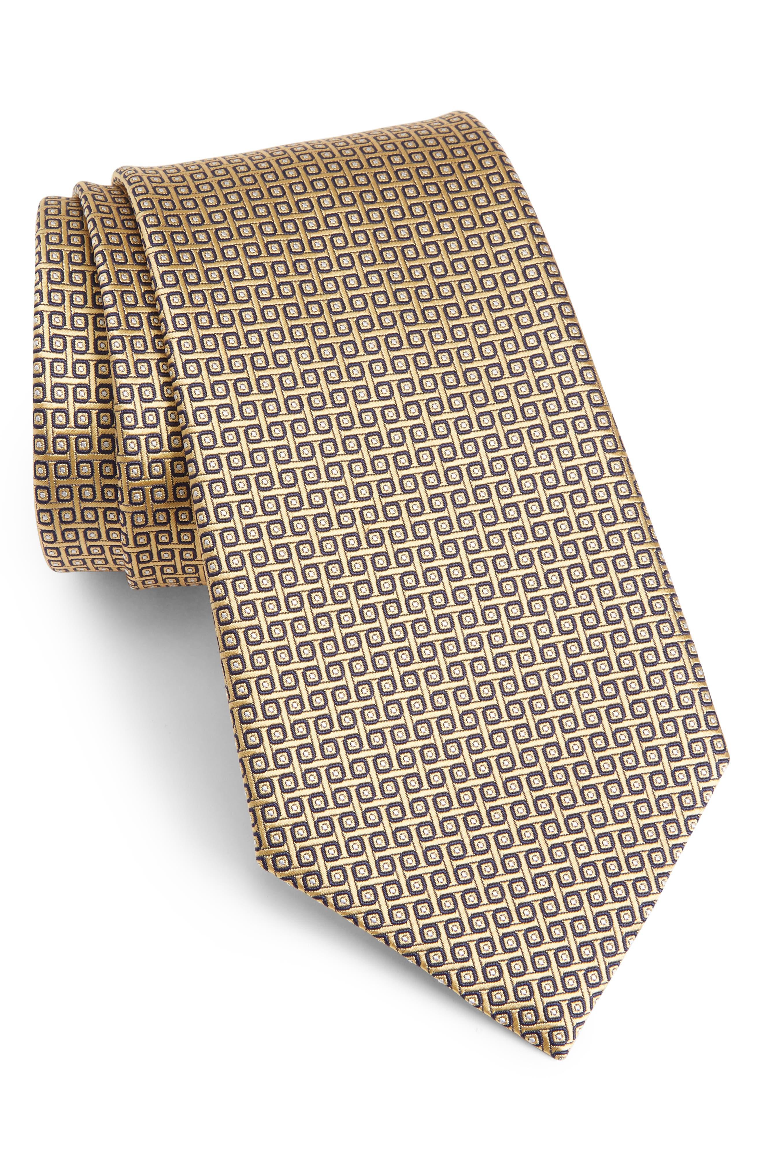 Geometric Silk Tie,                         Main,                         color, YELLOW